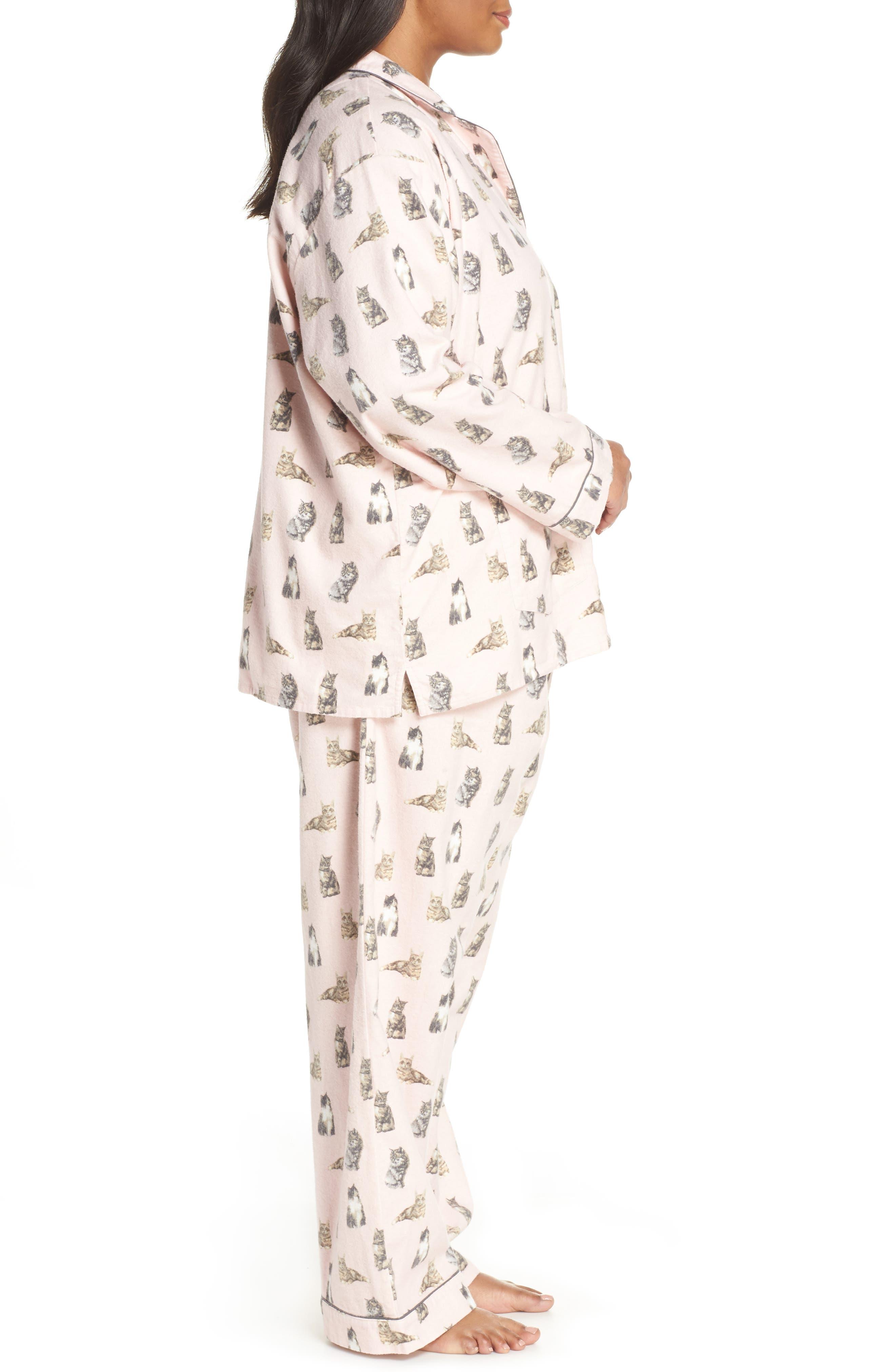 PJ SALVAGE,                             Print Flannel Pajamas,                             Alternate thumbnail 3, color,                             650