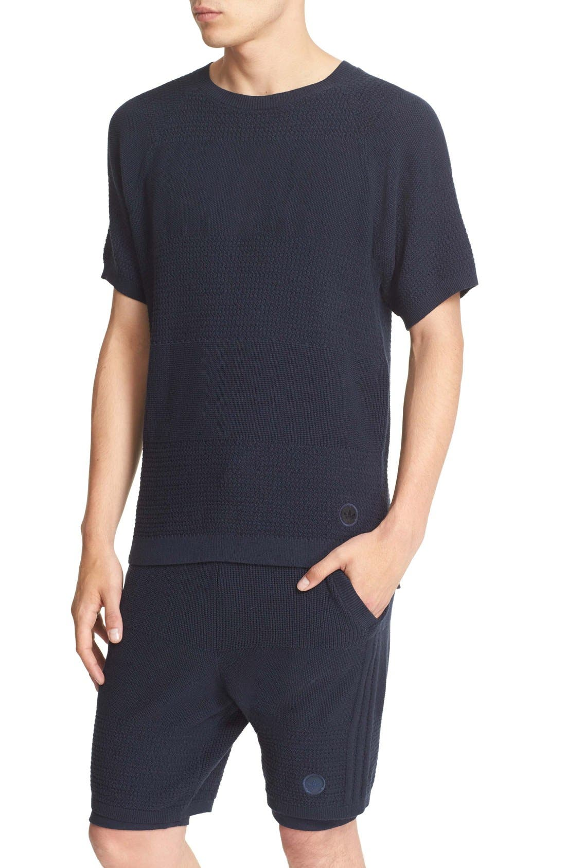 Linear Cotton & Linen T-Shirt,                             Alternate thumbnail 5, color,                             410