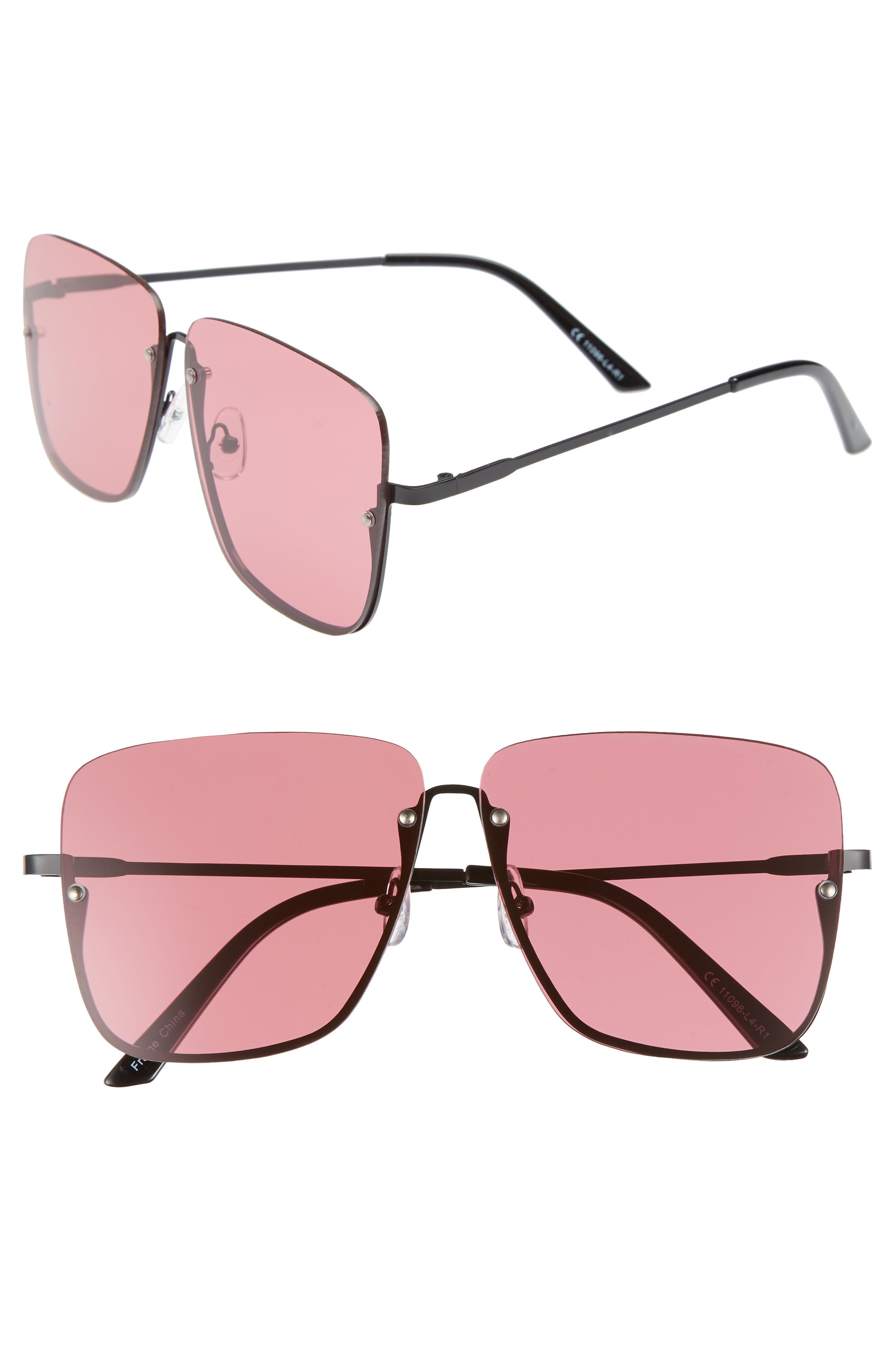 55mm Rimless Top Bar Square Sunglasses,                         Main,                         color, 001