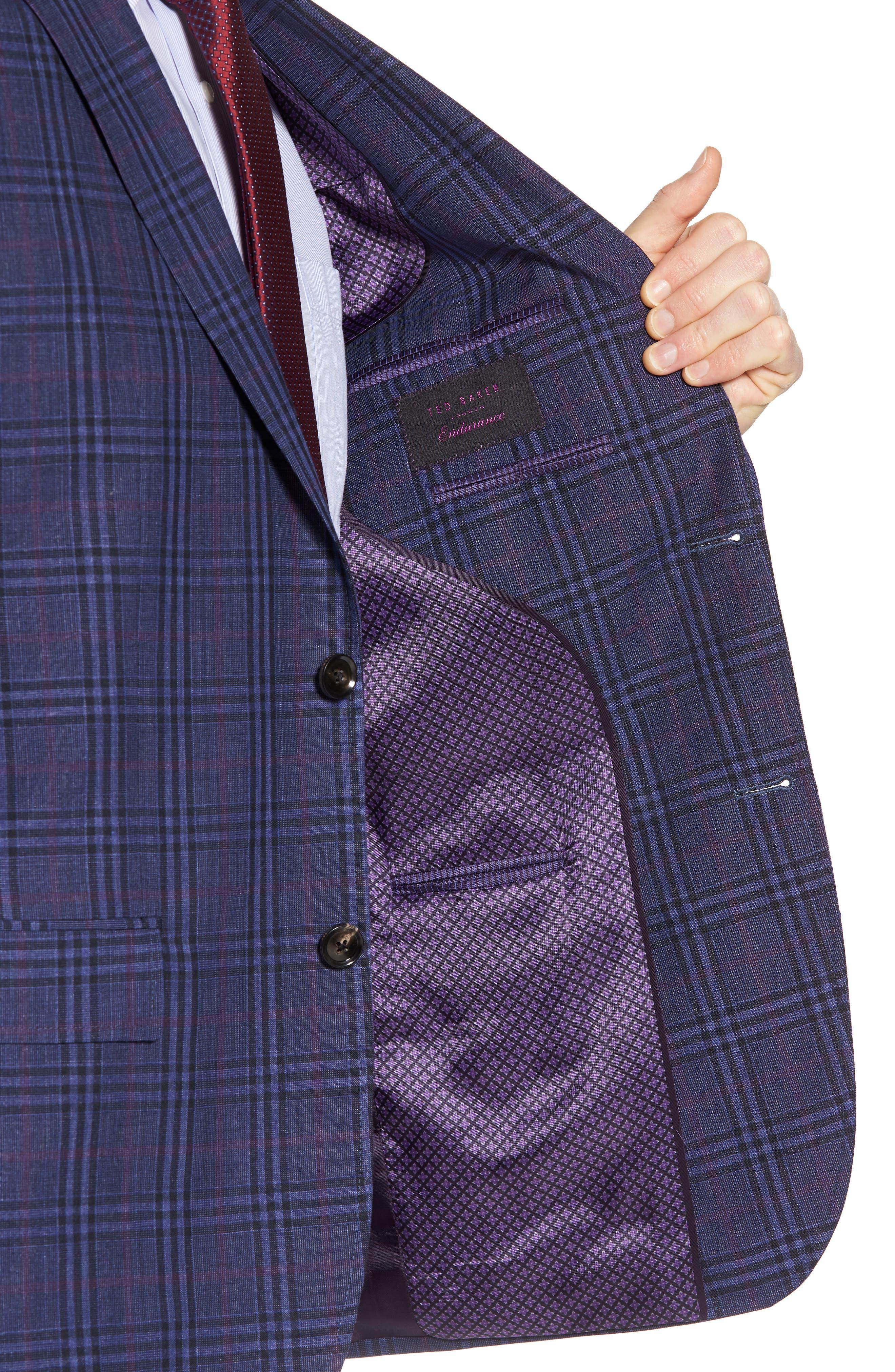Jay Trim Fit Plaid Wool & Linen Sport Coat,                             Alternate thumbnail 4, color,                             400