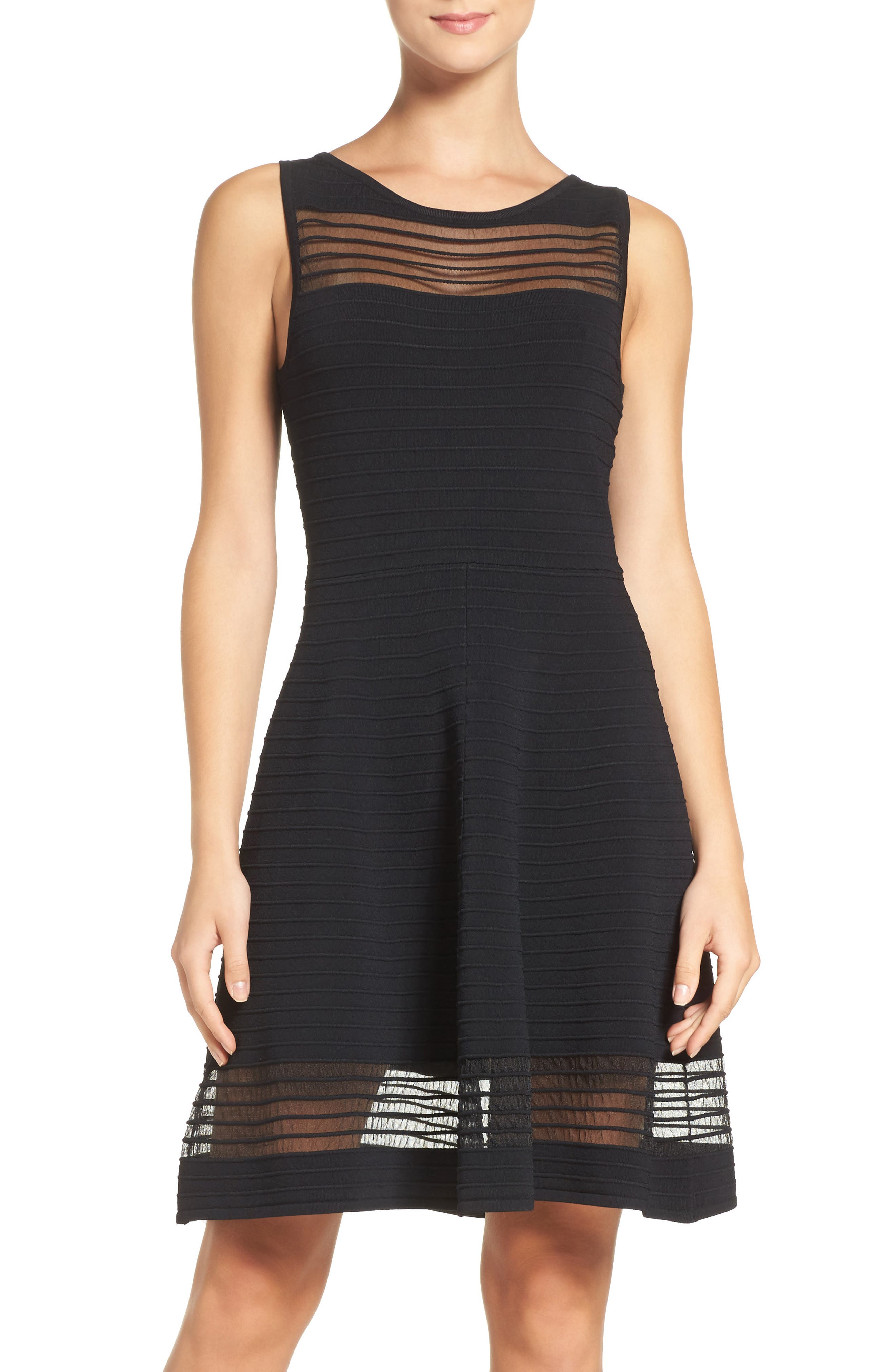 Tobey Fit & Flare Sweater Dress,                         Main,                         color, BLACK