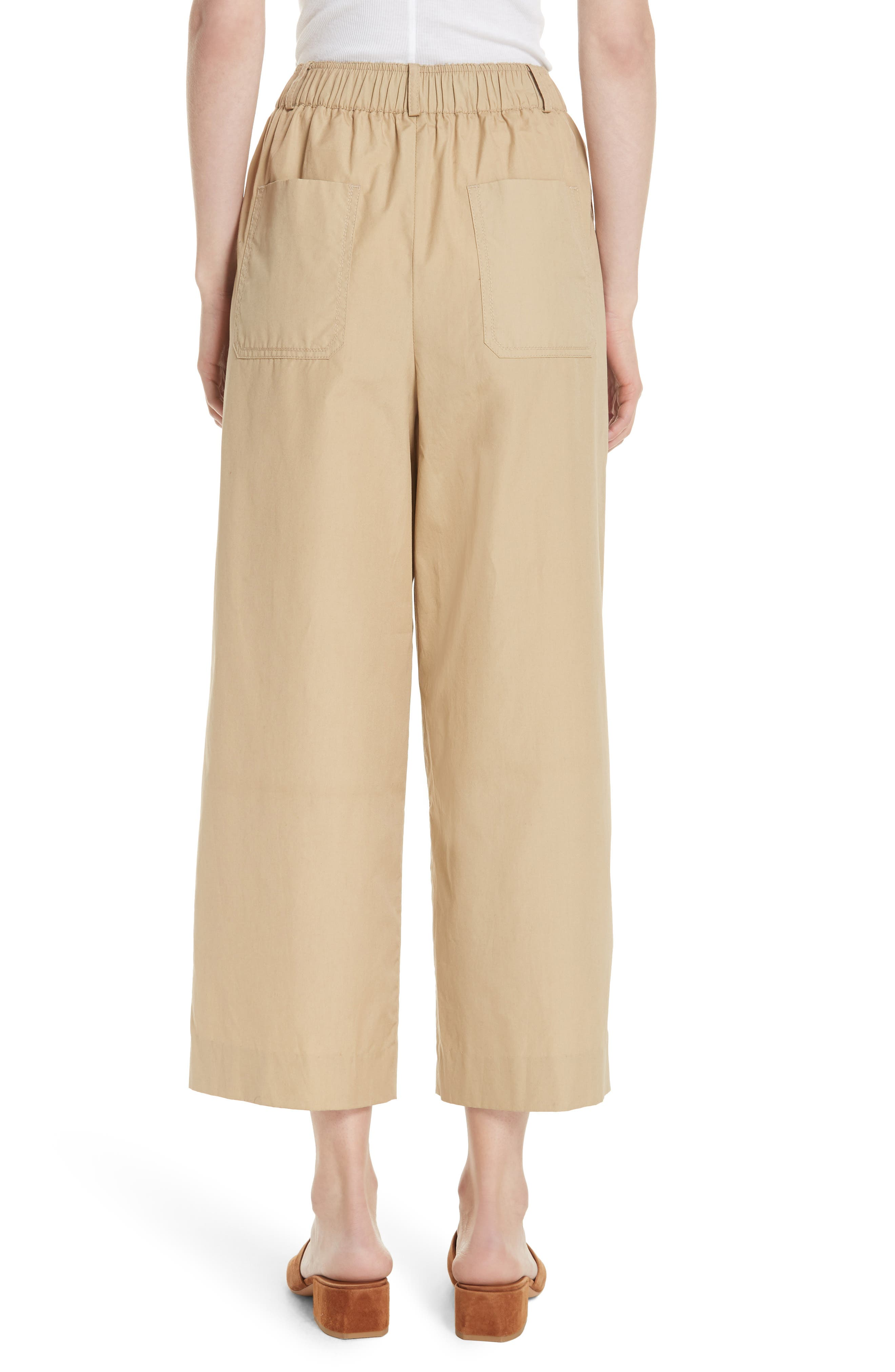 Wide Leg Polished Cotton Pants,                             Alternate thumbnail 2, color,                             KHAKI