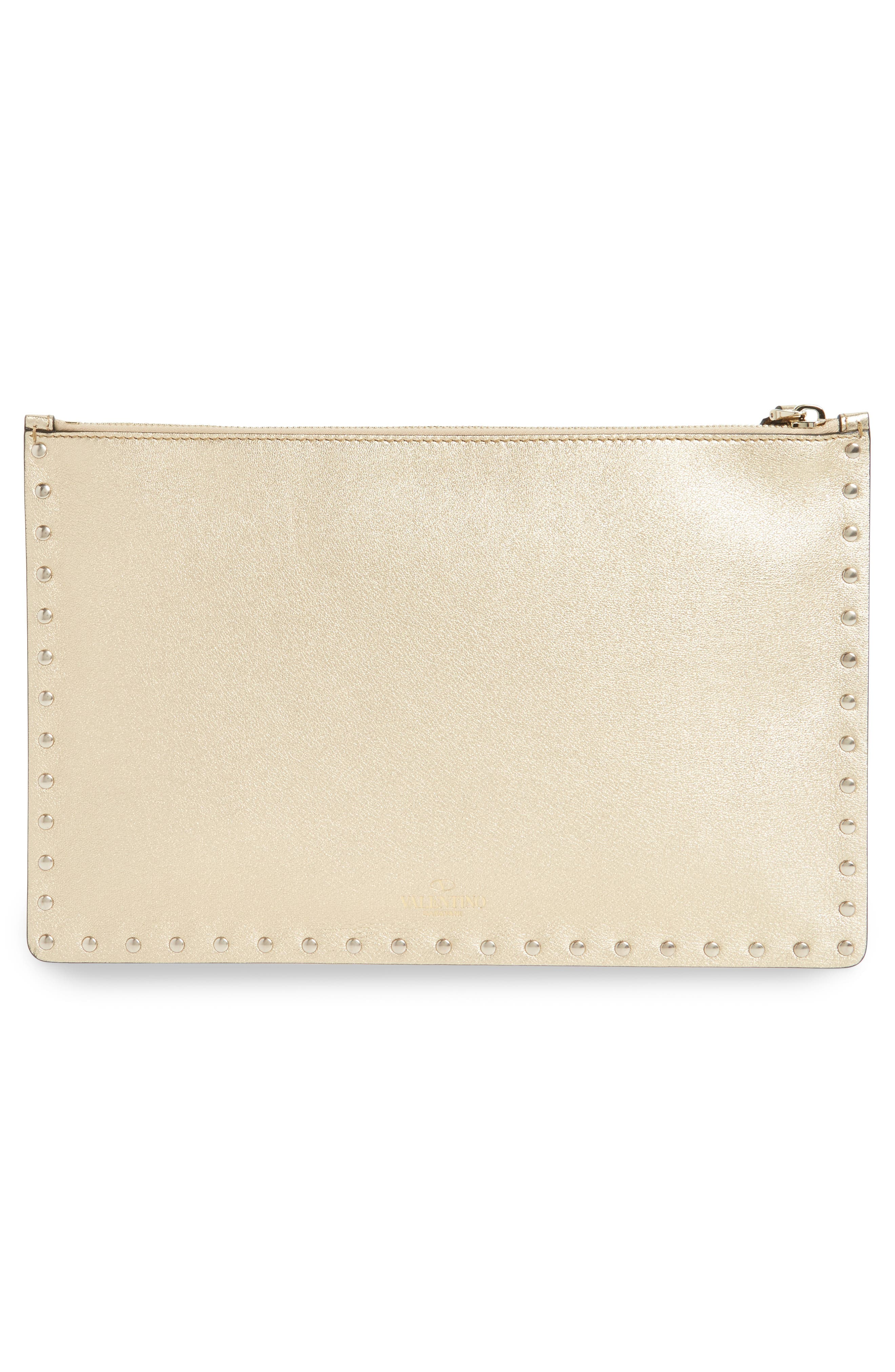 Large Rockstud Leather Pouch,                             Alternate thumbnail 3, color,