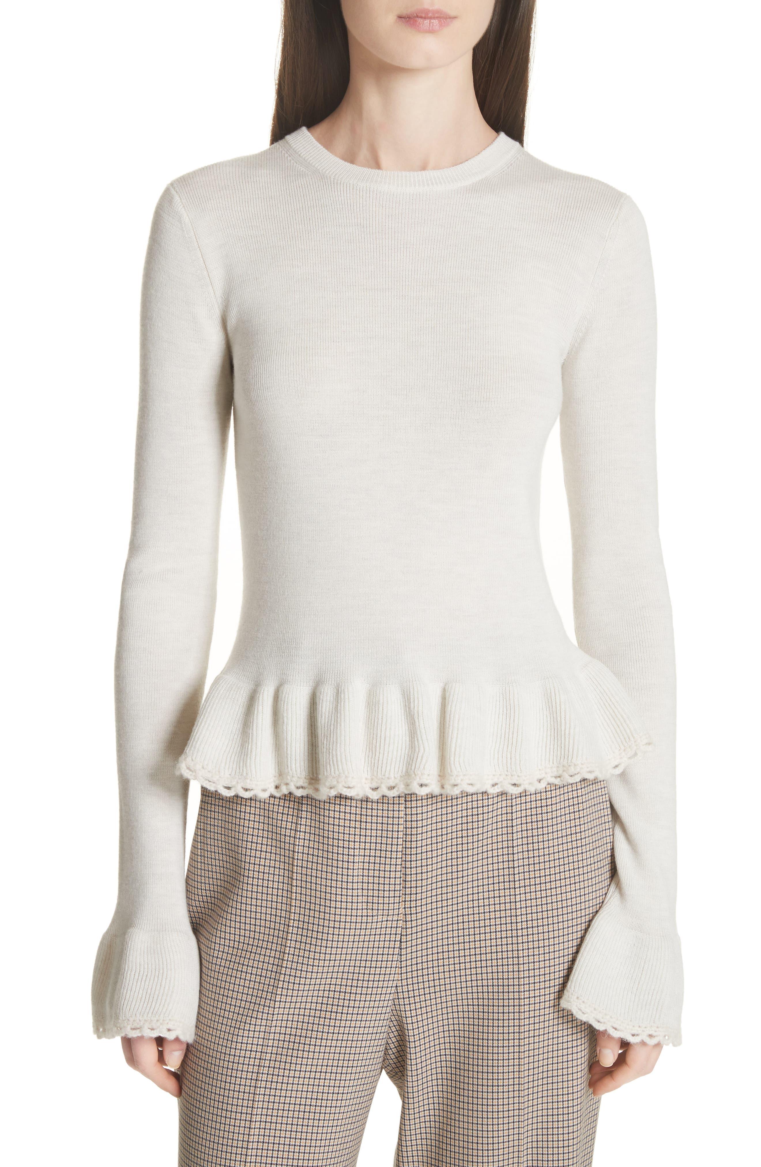 Peplum Wool Sweater,                             Main thumbnail 1, color,                             MISTY IVORY