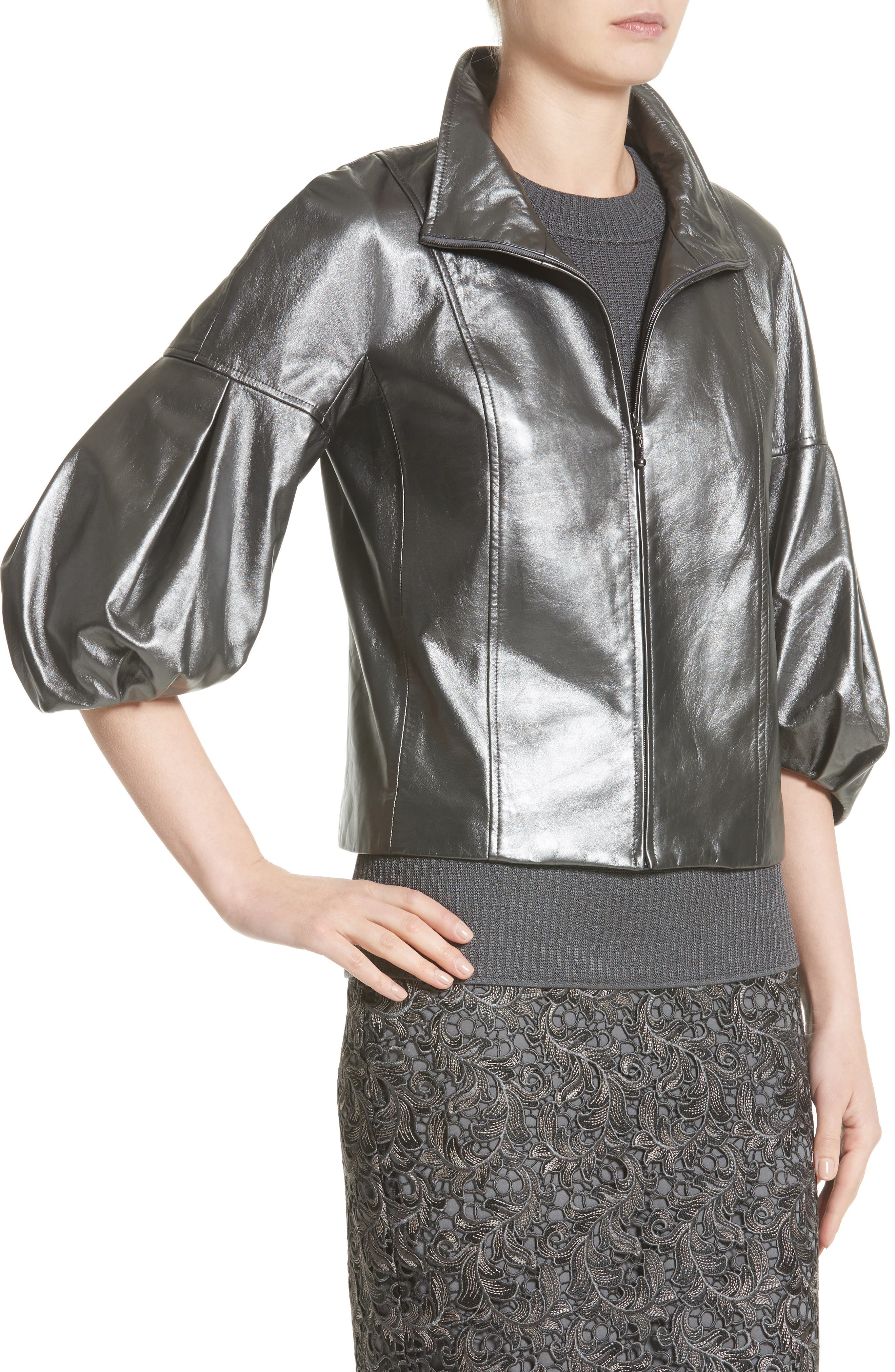 Pearlized Nappa Leather Jacket,                             Alternate thumbnail 4, color,                             020