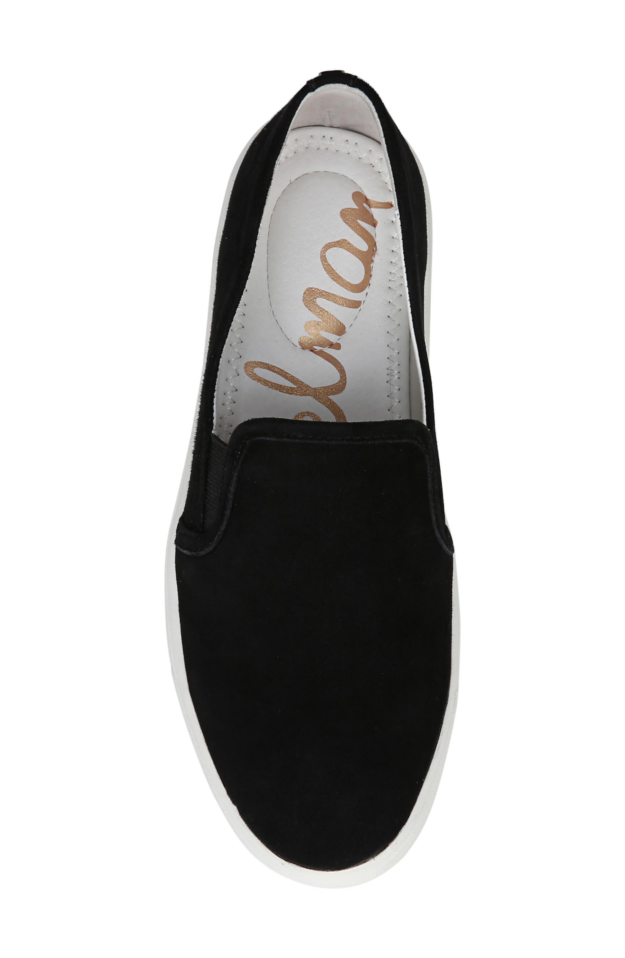 Elton Slip-On Sneaker,                             Alternate thumbnail 5, color,                             BLACK SUEDE LEATHER