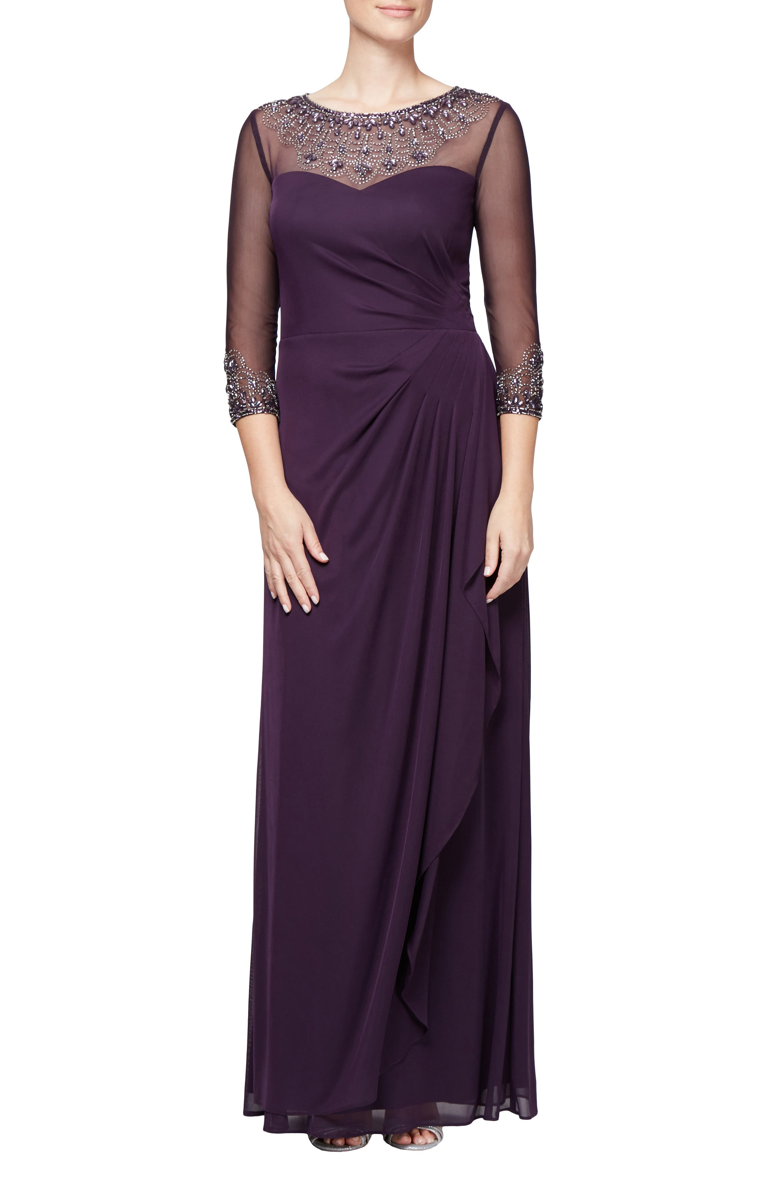Embellished A-Line Gown,                             Main thumbnail 1, color,                             PLUM