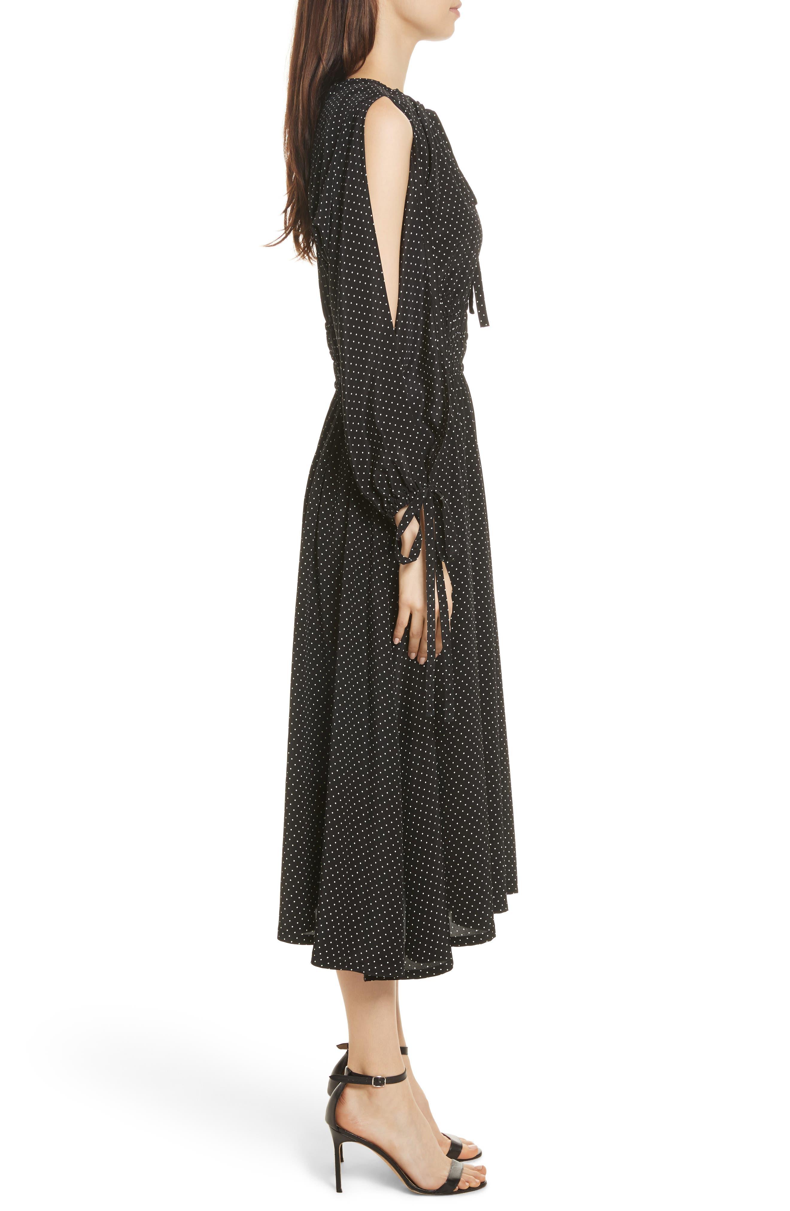 Polka Dot Silk Cold Shoulder Dress,                             Alternate thumbnail 3, color,                             001