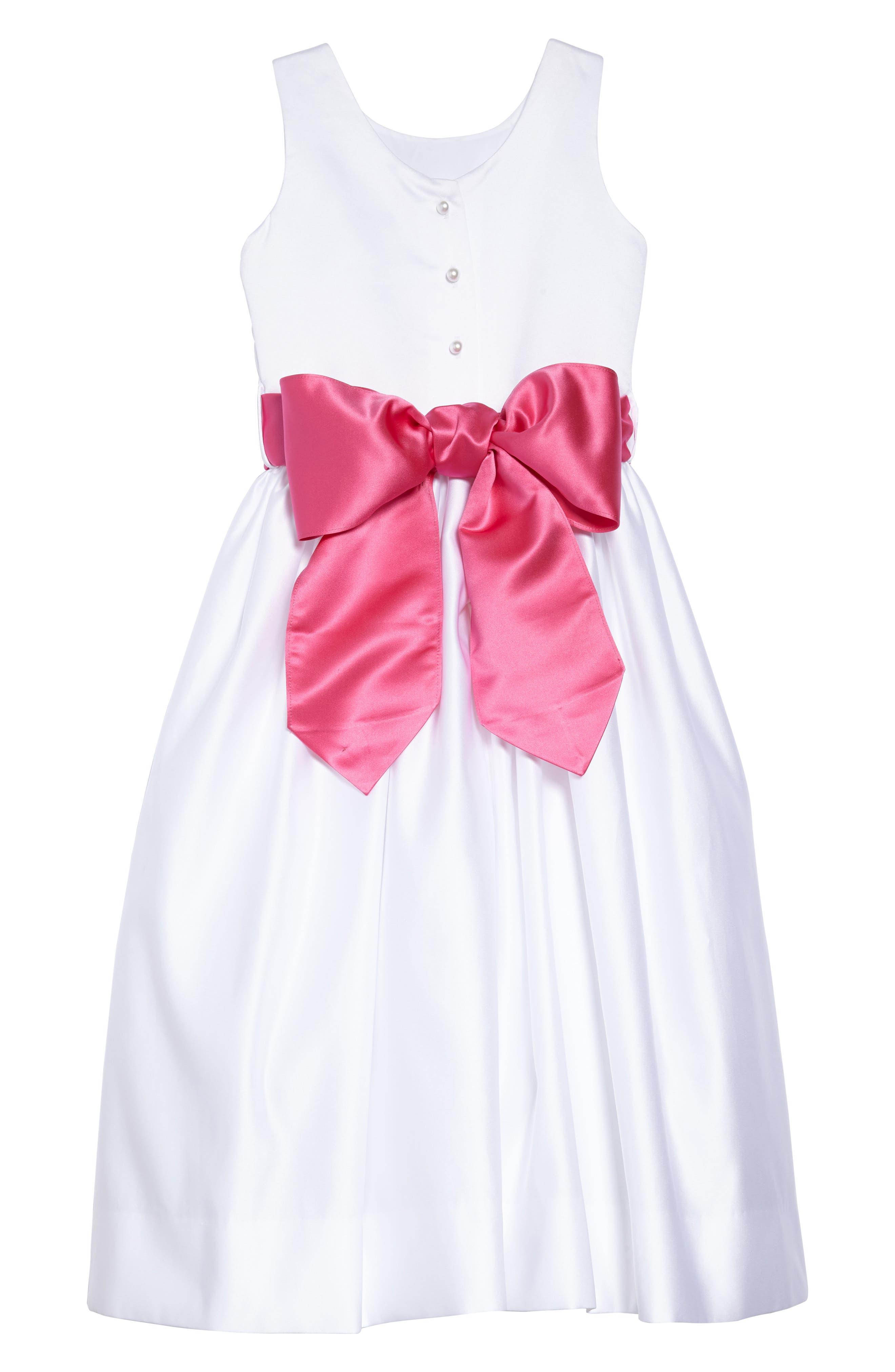 White Tank Dress with Satin Sash,                             Alternate thumbnail 2, color,                             White/ fuchsia