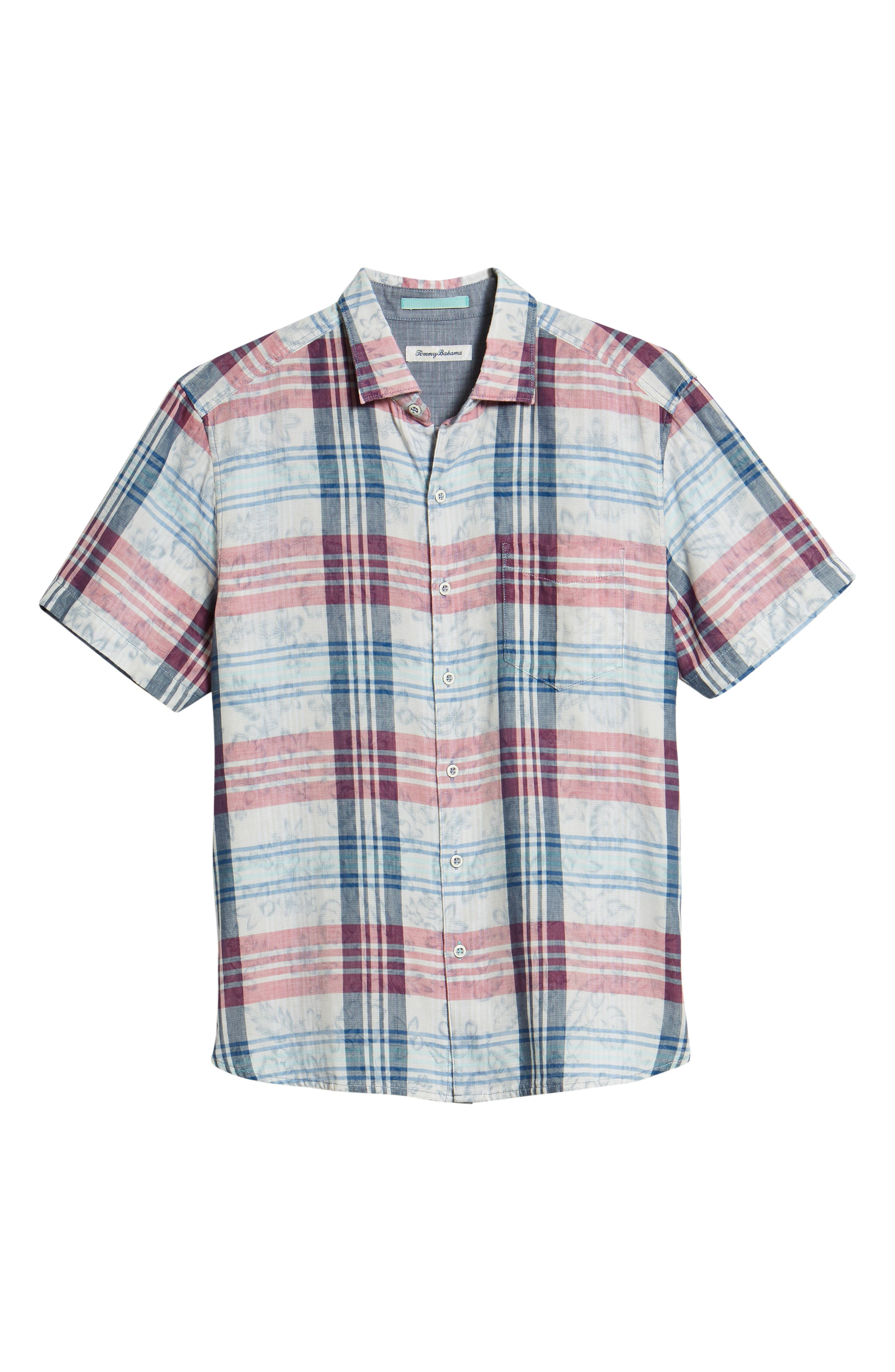Zuma Plaid Sport Shirt,                             Alternate thumbnail 6, color,                             OCEAN DEEP