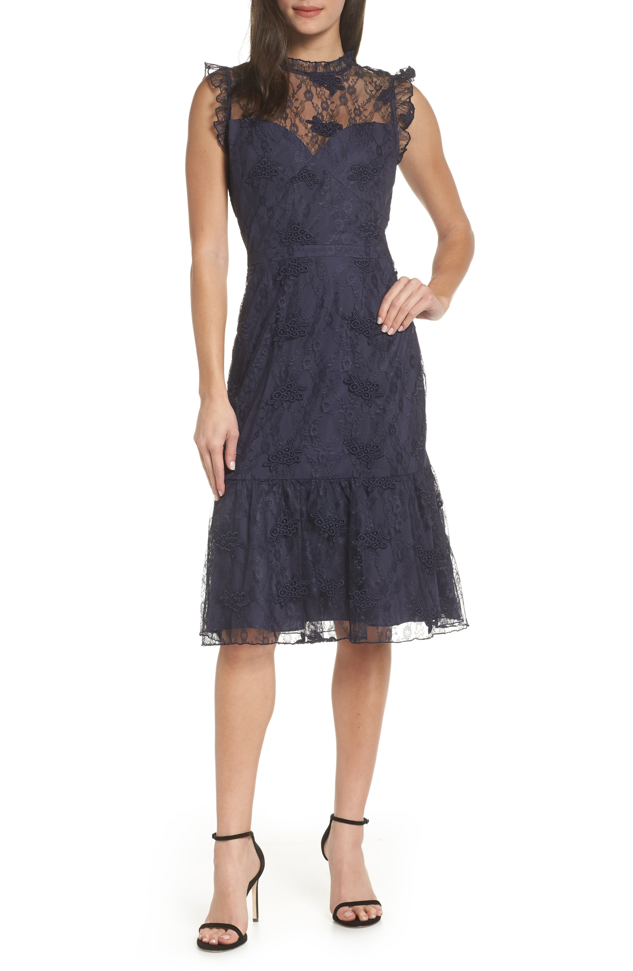 Chelsea28 Lace Ruffle Hem Dress, Blue