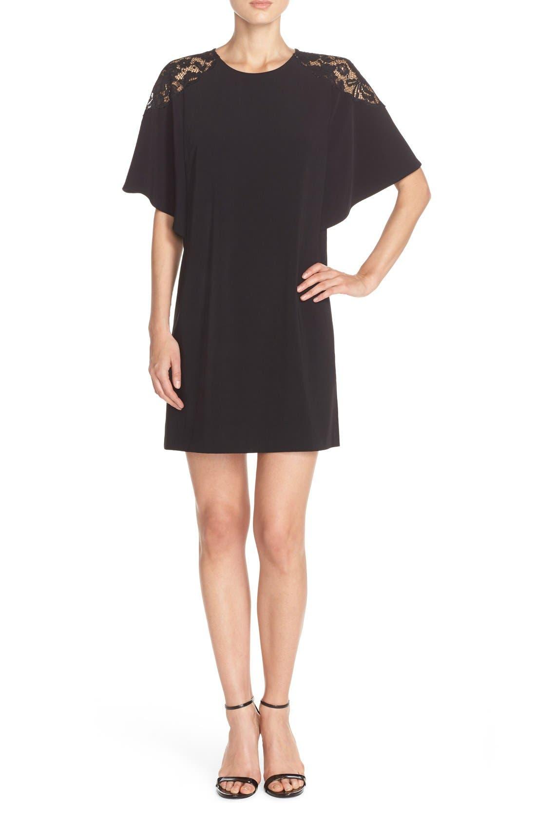 Lace Shoulder Crepe A-Line Dress,                             Alternate thumbnail 5, color,                             005
