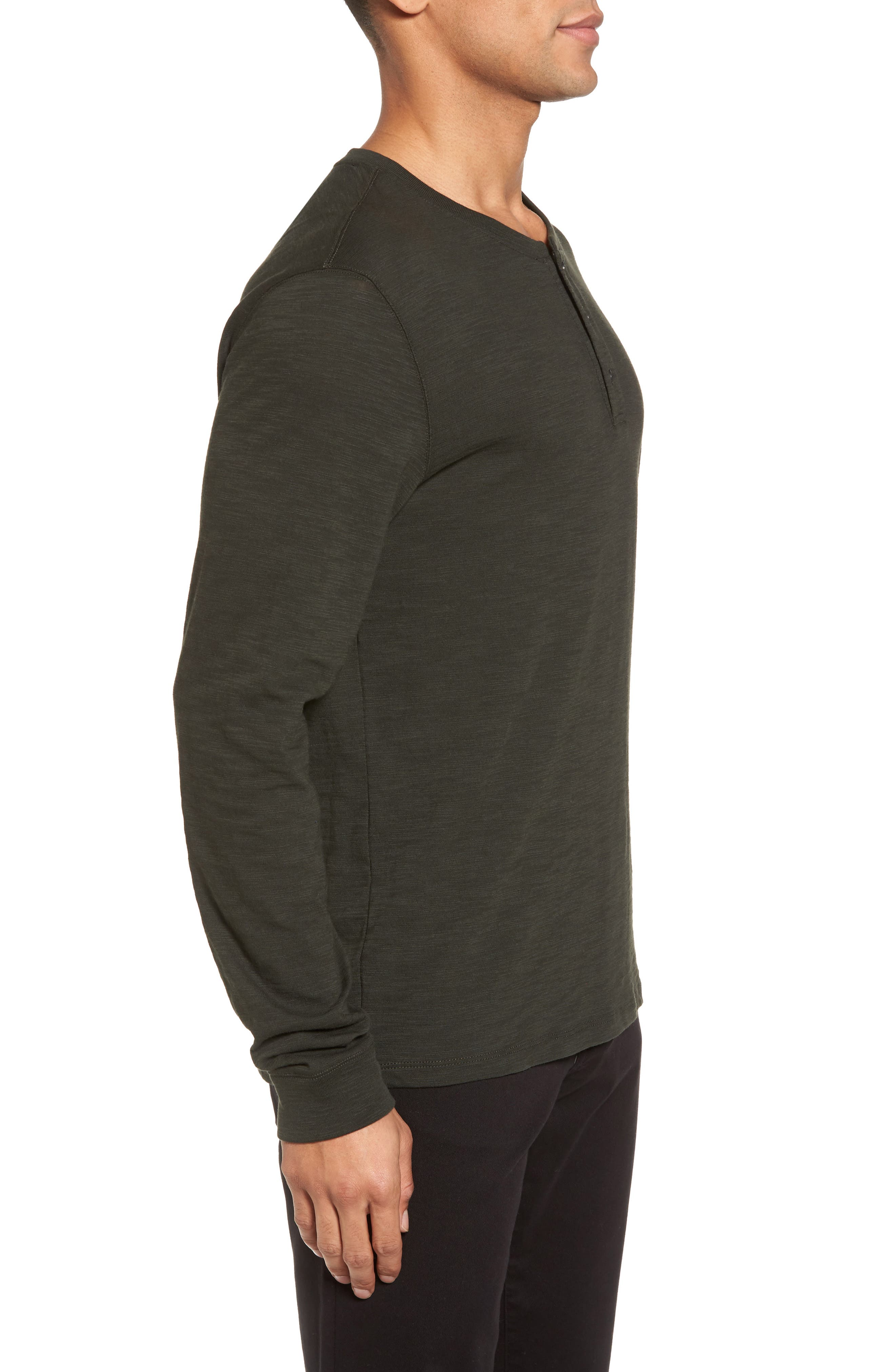 Long Sleeve Slub Henley,                             Alternate thumbnail 3, color,                             CACTUS