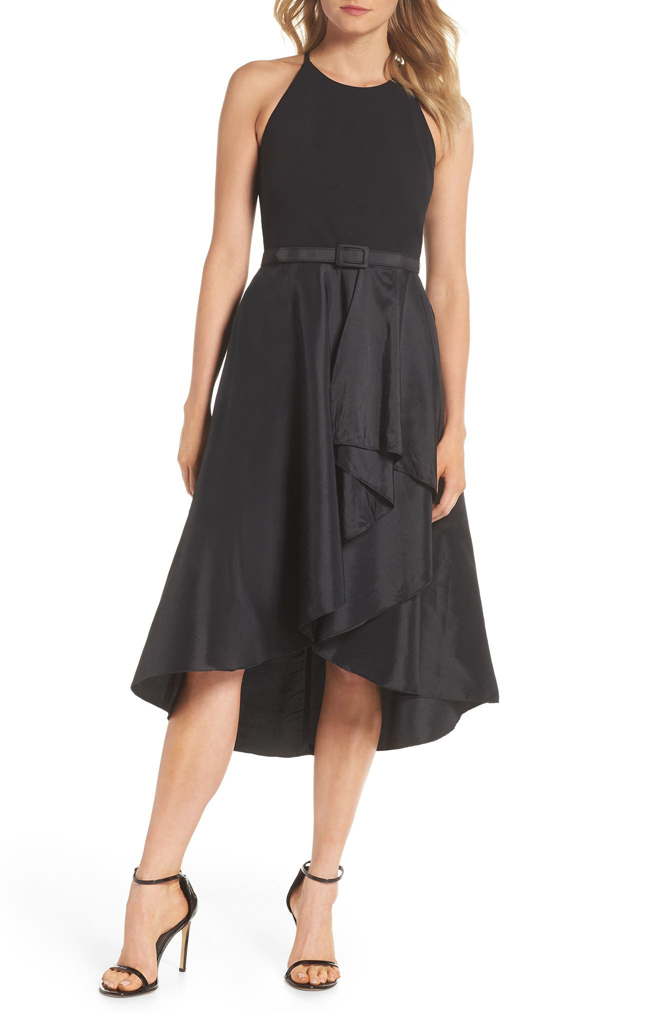 Asymmetrical Tea Length Dress,                             Main thumbnail 1, color,                             BLACK