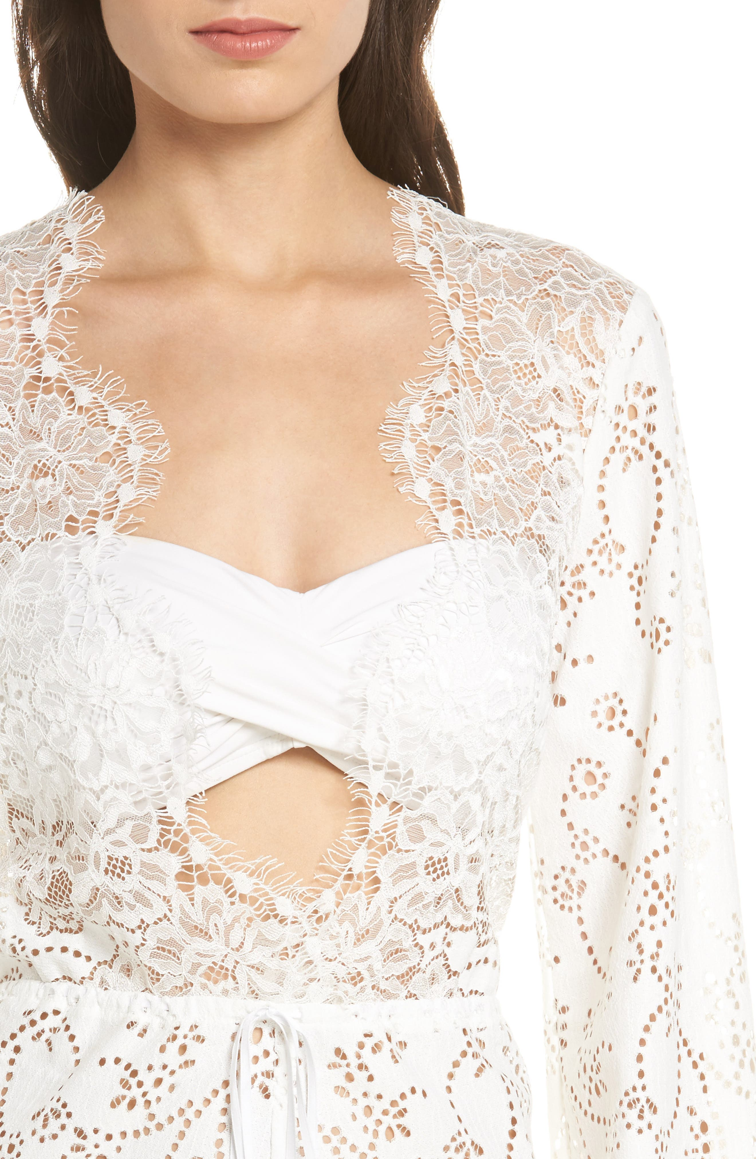 Olympia Lace Cover-Up Romper,                             Alternate thumbnail 8, color,