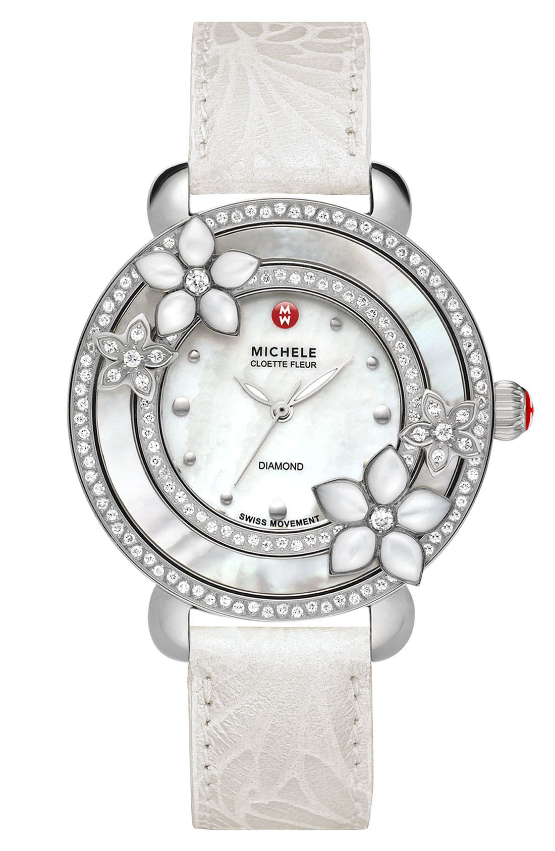 'Cloette Fleur' Diamond & Mother-of-Pearl Watch Case, 38mm,                             Alternate thumbnail 3, color,                             040
