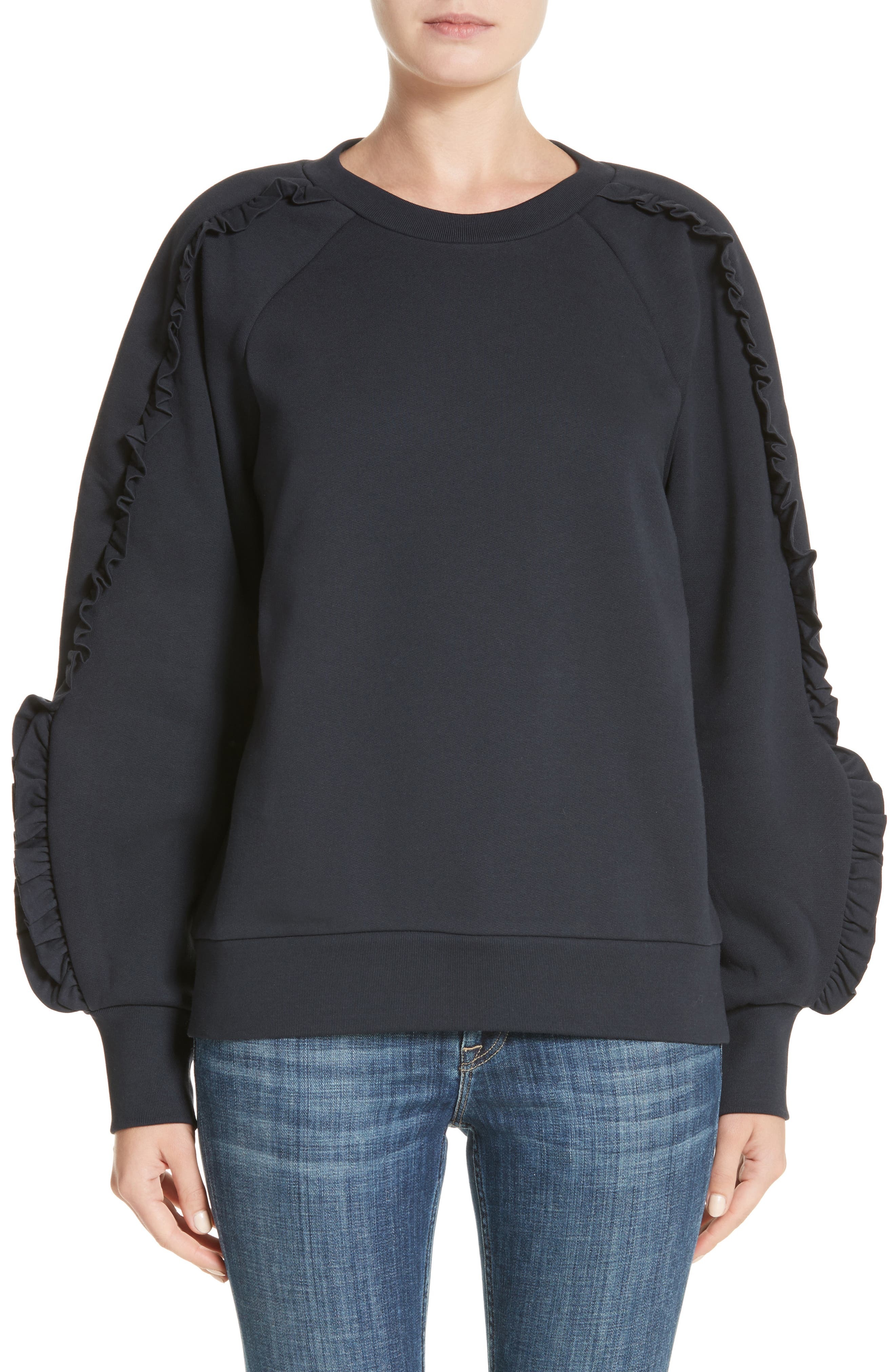 Kupa Ruffle Sleeve Sweatshirt,                             Main thumbnail 2, color,