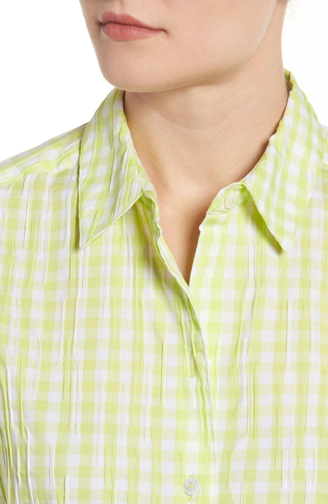 Crinkled Gingham Shirt,                             Alternate thumbnail 5, color,