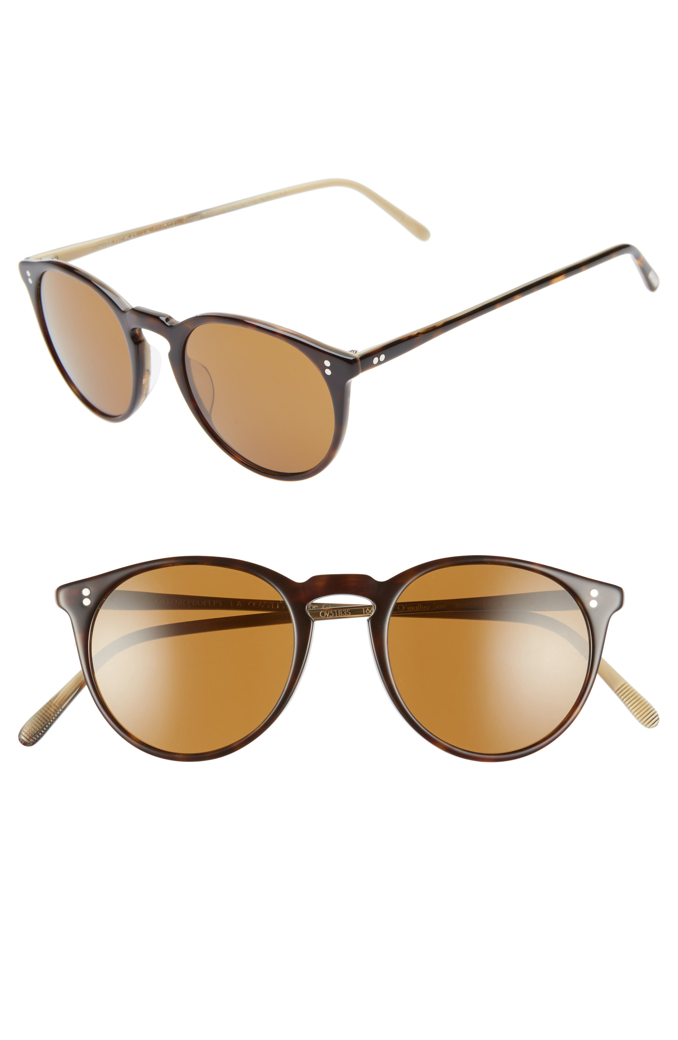 O'Malley 48mm Round Sunglasses,                             Main thumbnail 1, color,                             HORN BROWN
