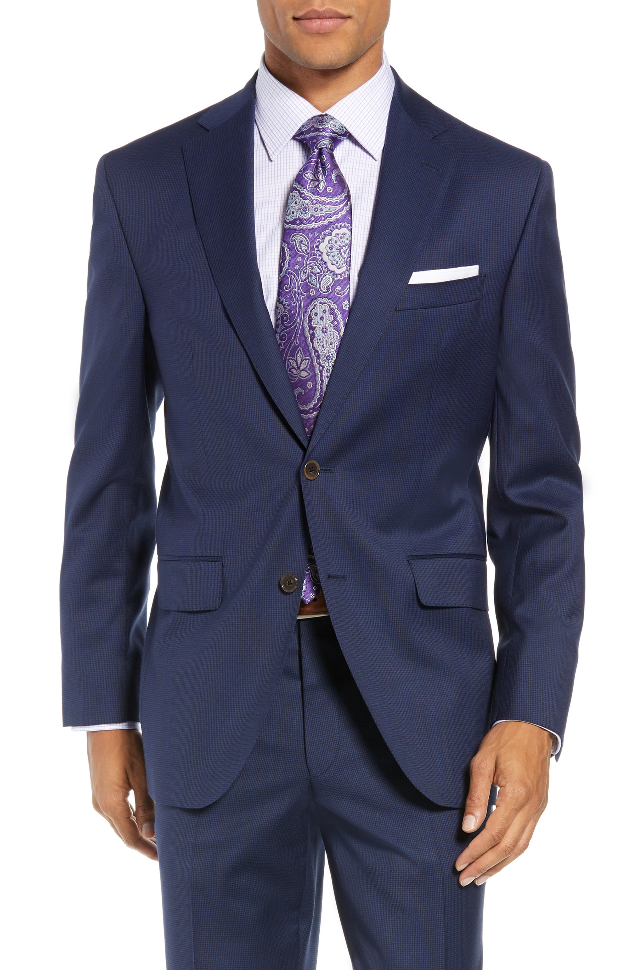 Ryan Classic Fit Houndstooth Wool Suit,                             Alternate thumbnail 5, color,                             BLUE