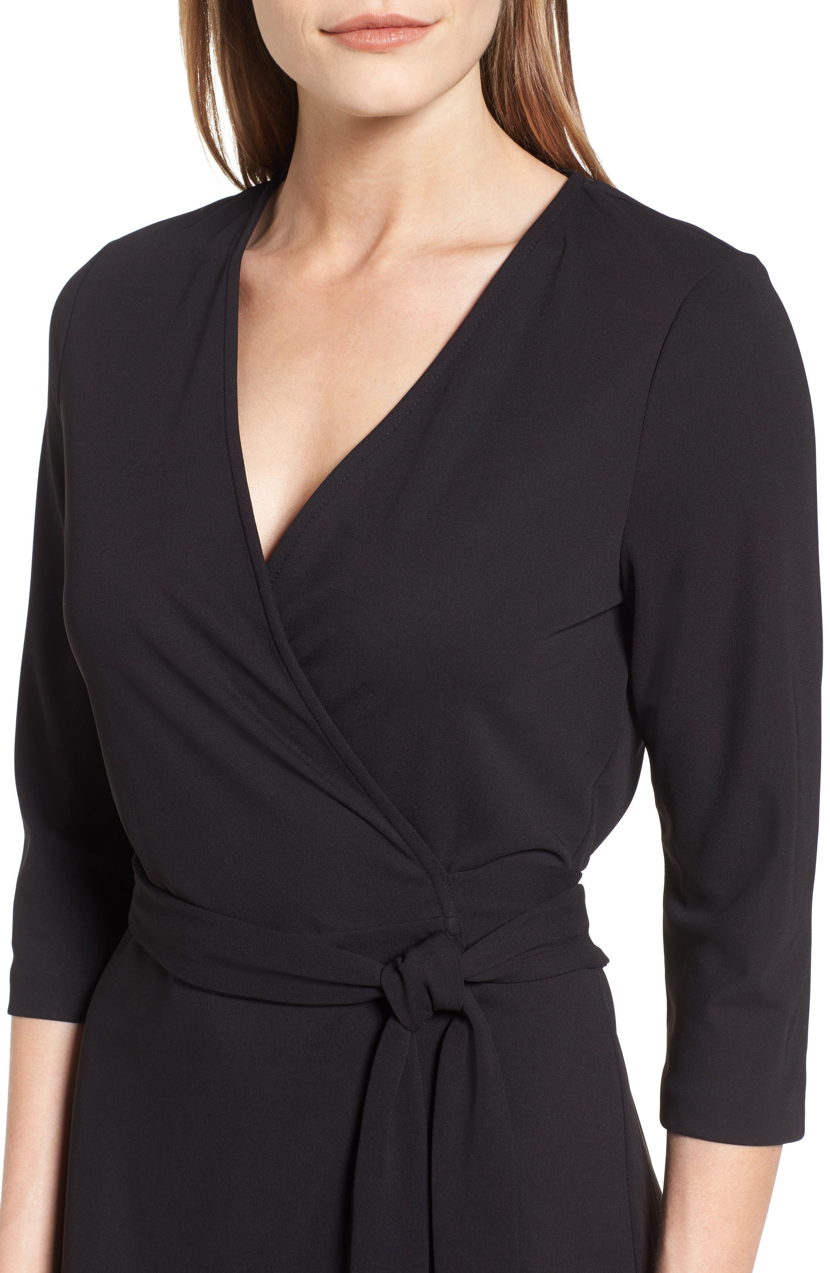 Jersey Wrap Dress,                             Alternate thumbnail 4, color,                             RICH BLACK