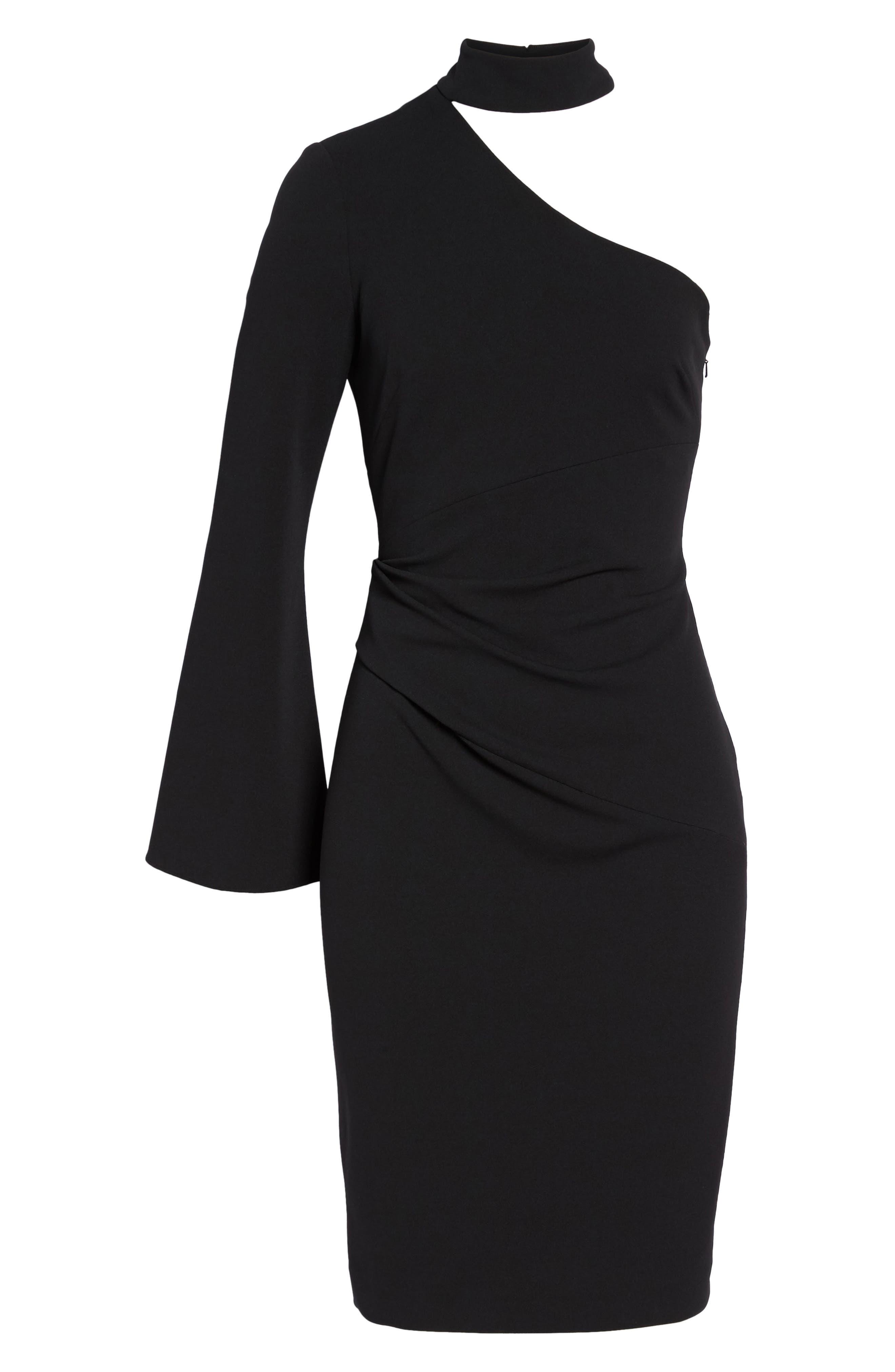 Choker One-Shoulder Dress,                             Alternate thumbnail 6, color,                             001