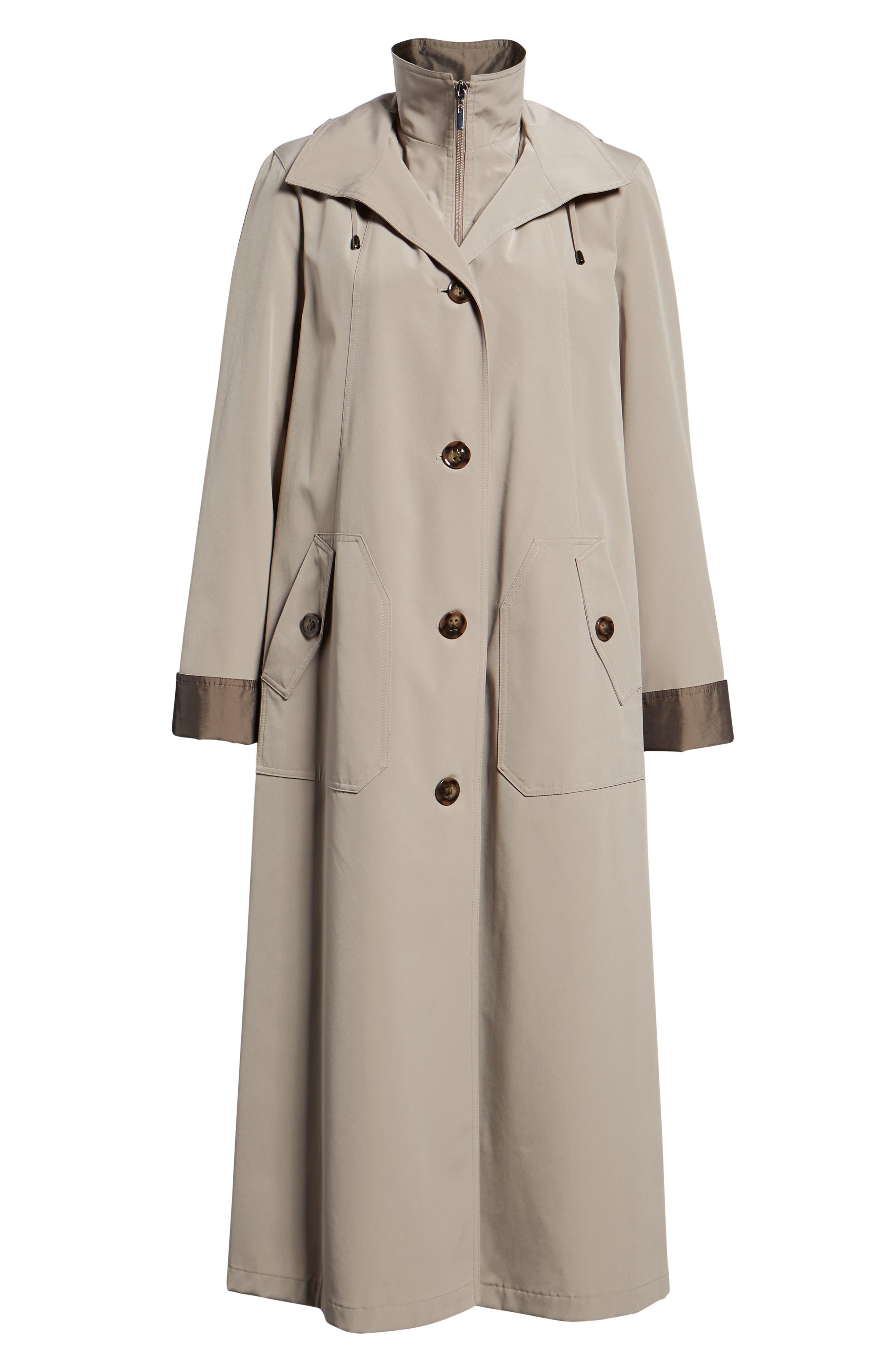 Full Length Two-Tone Silk Look Raincoat,                             Alternate thumbnail 6, color,                             MUSHROOM