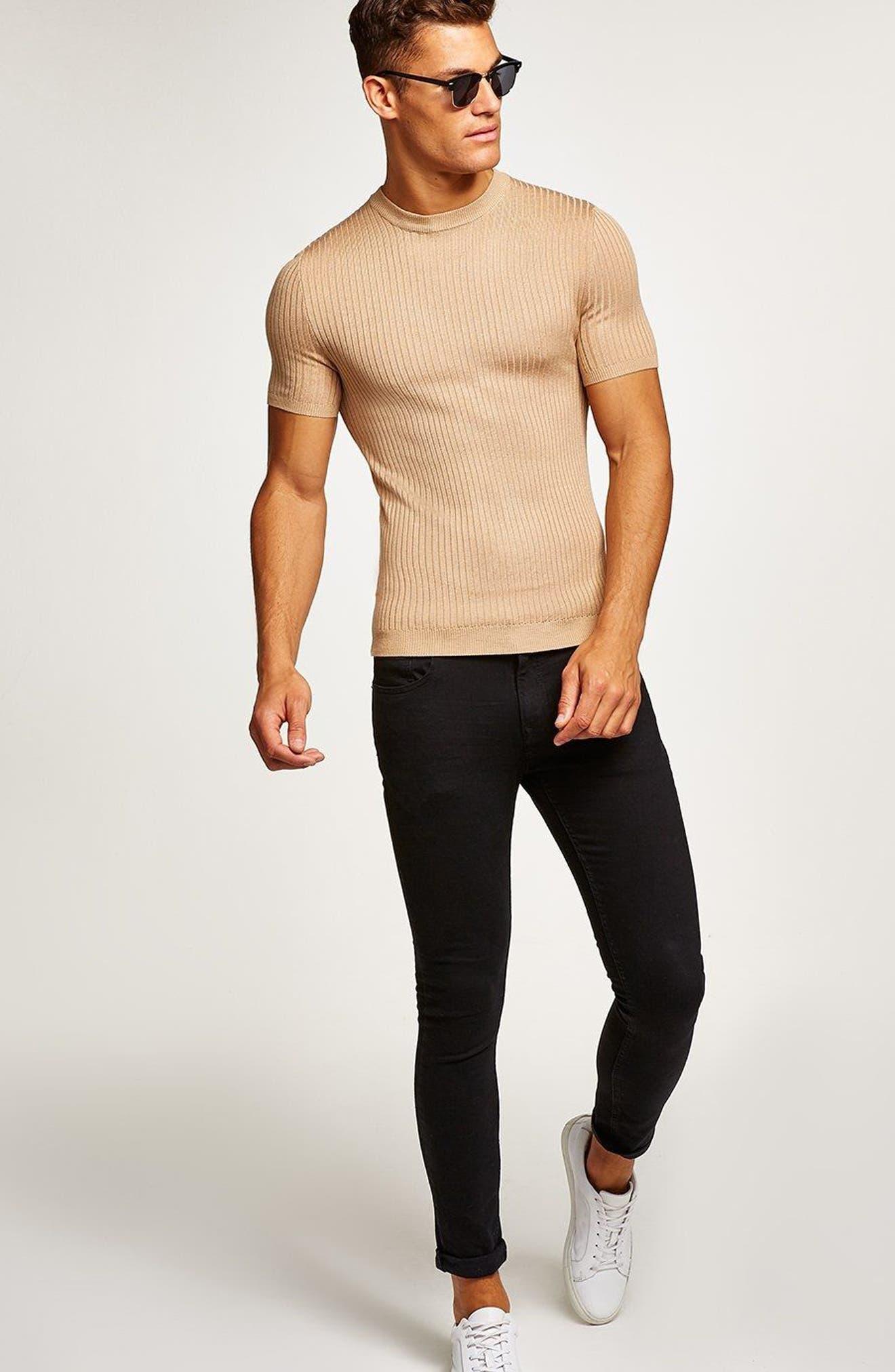 TOPMAN,                             Short Sleeve Muscle Fit Shirt,                             Alternate thumbnail 5, color,                             250