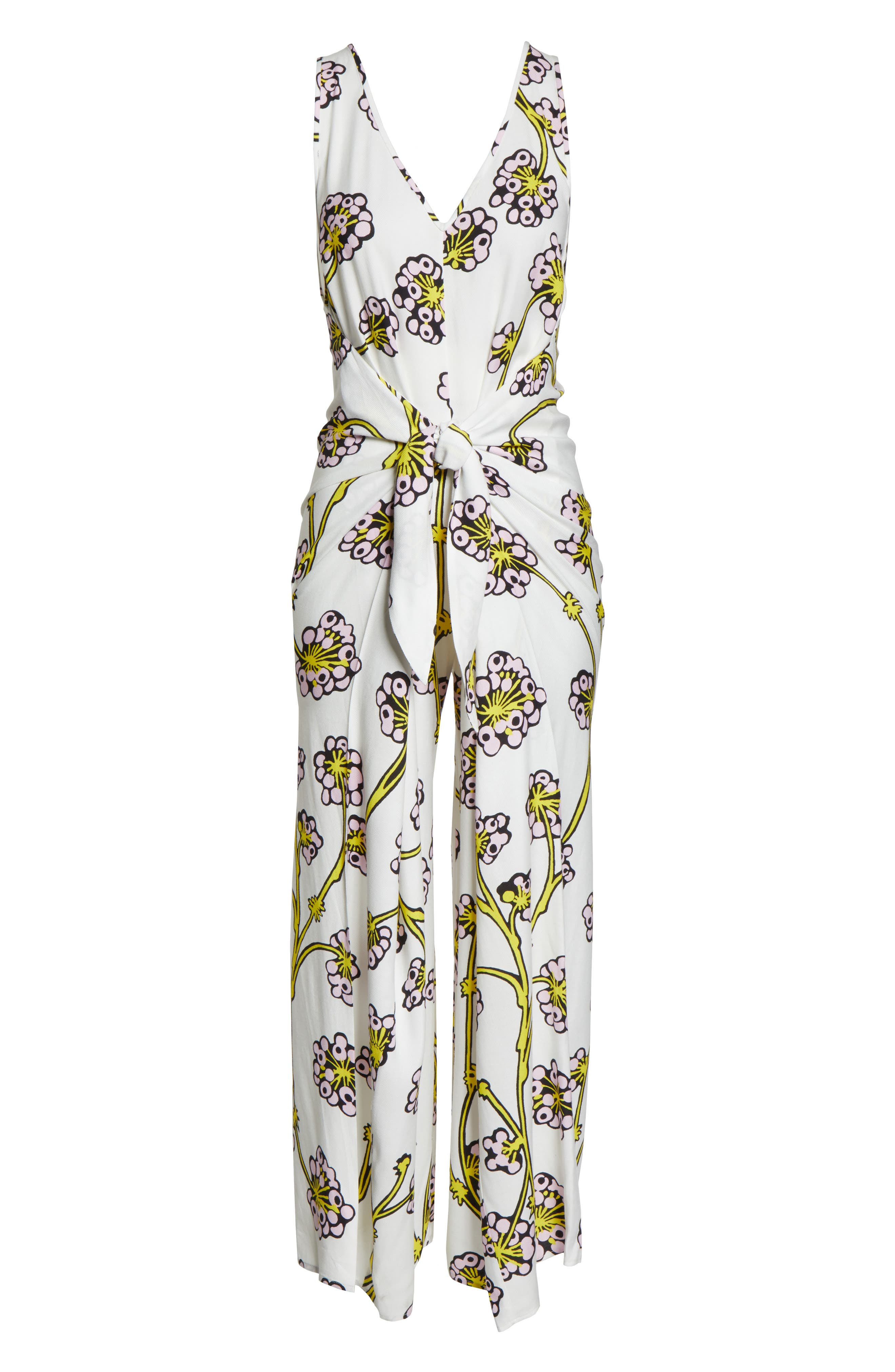 Print Jumpsuit Cover-Up,                             Alternate thumbnail 6, color,                             DRAGON BERRY GIANT IVORY