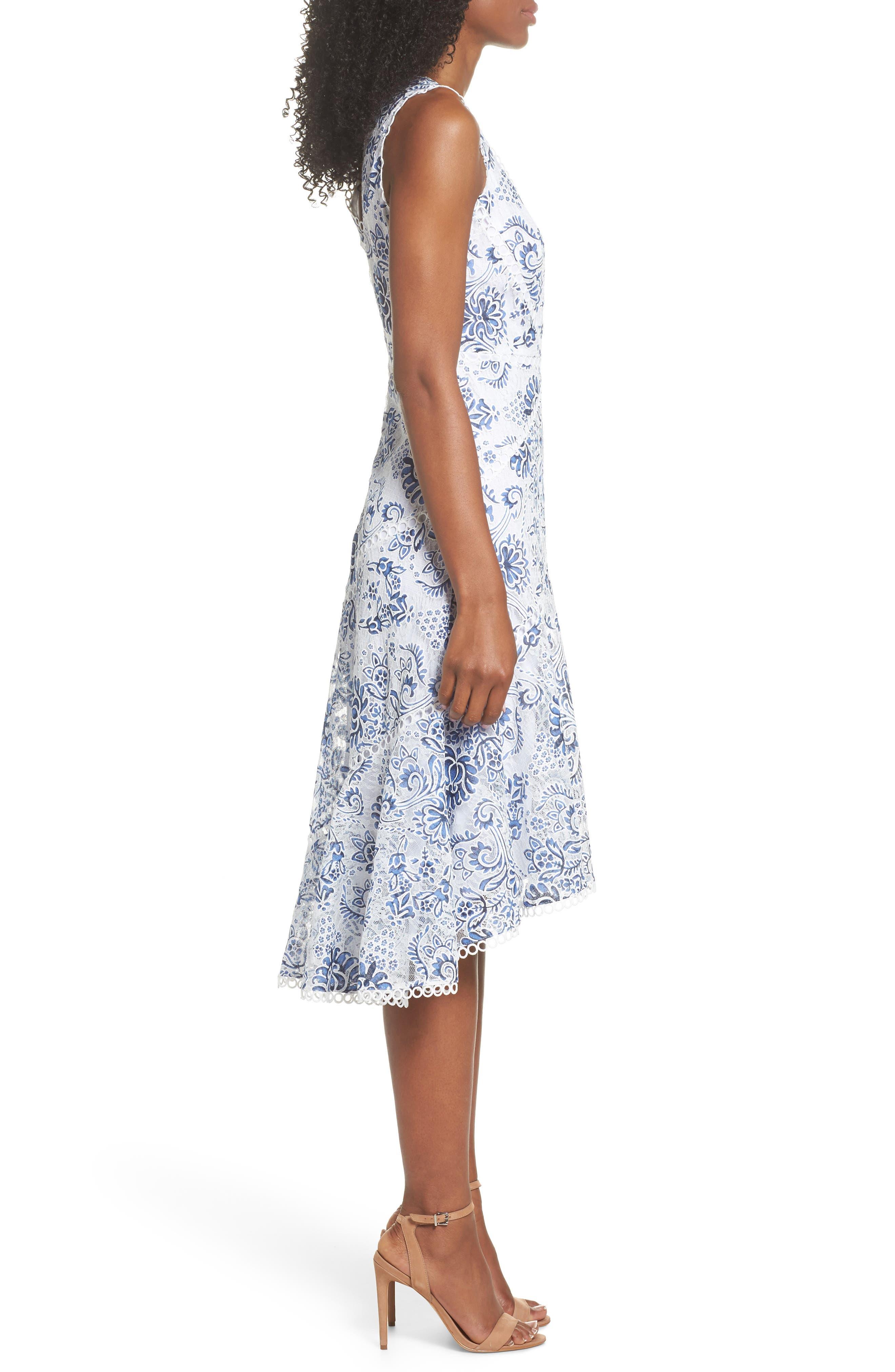 Burnout Lace Midi Dress,                             Alternate thumbnail 3, color,                             101