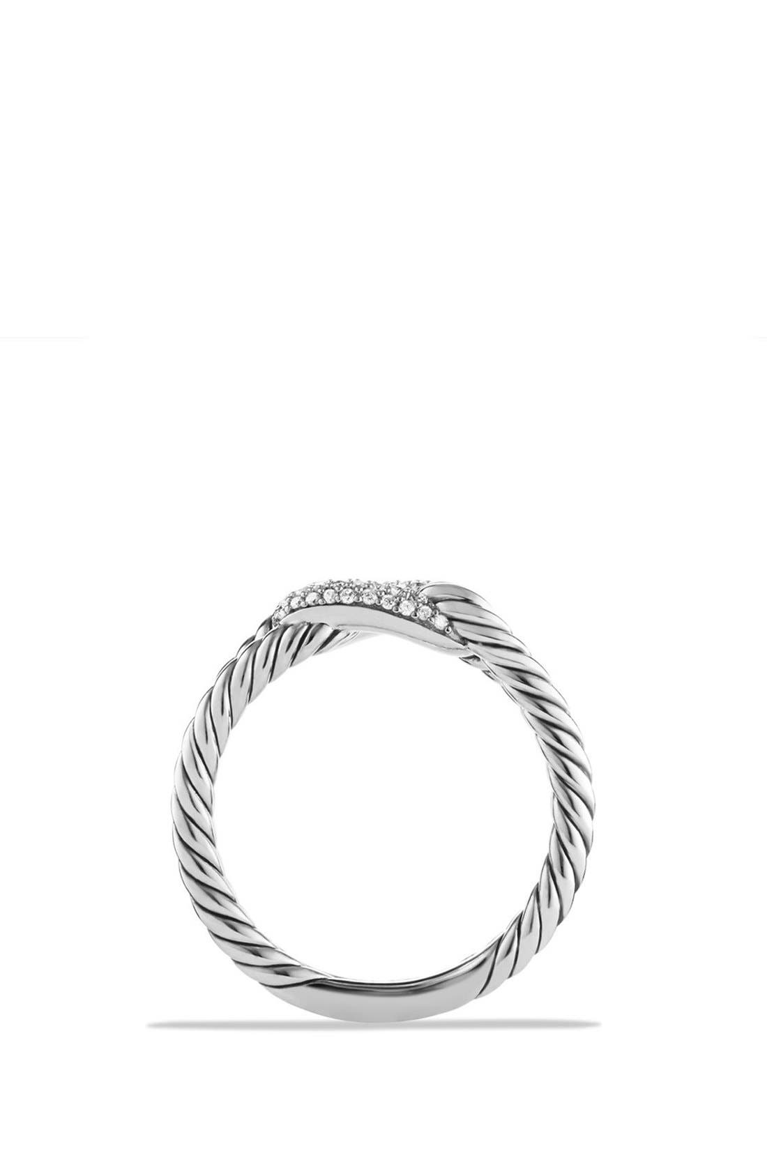 'Petite Pavé Loop Ring with Black Diamonds,                             Alternate thumbnail 3, color,                             SILVER