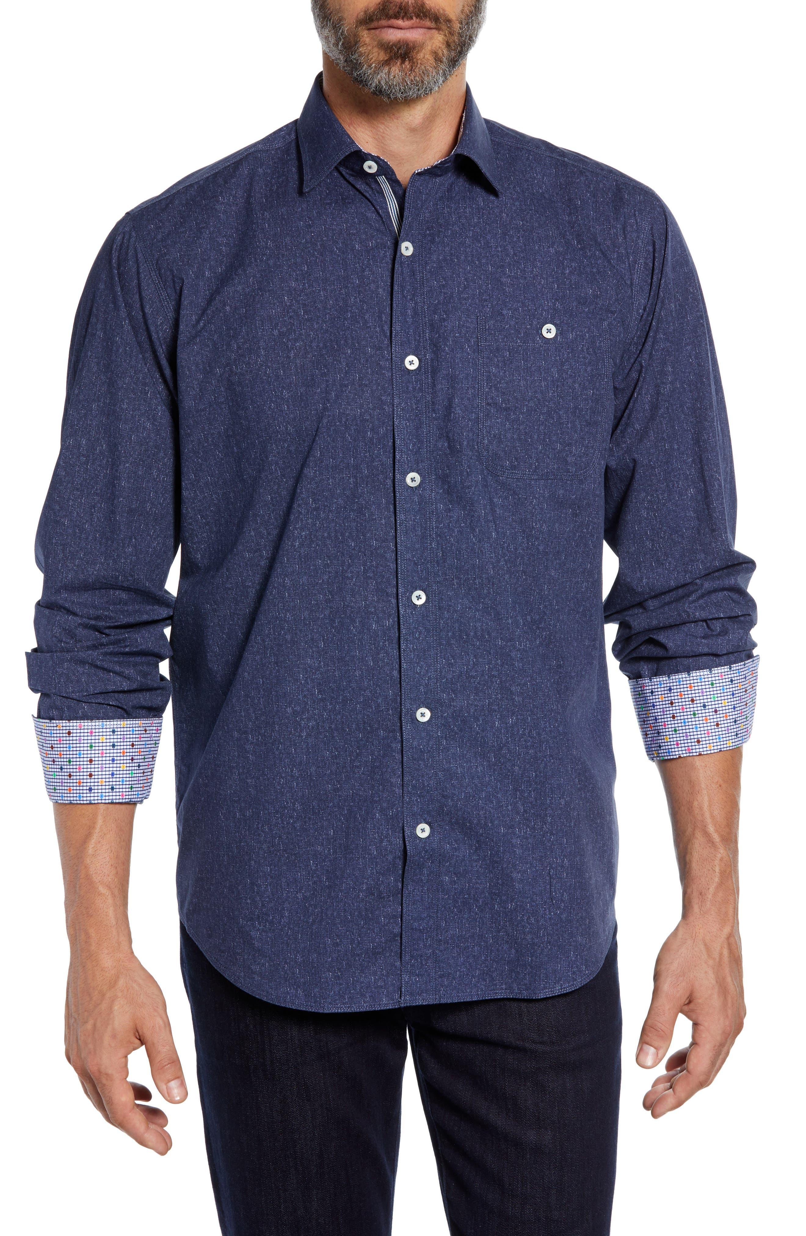 Classic Fit Mélange Sport Shirt,                             Main thumbnail 1, color,                             NAVY