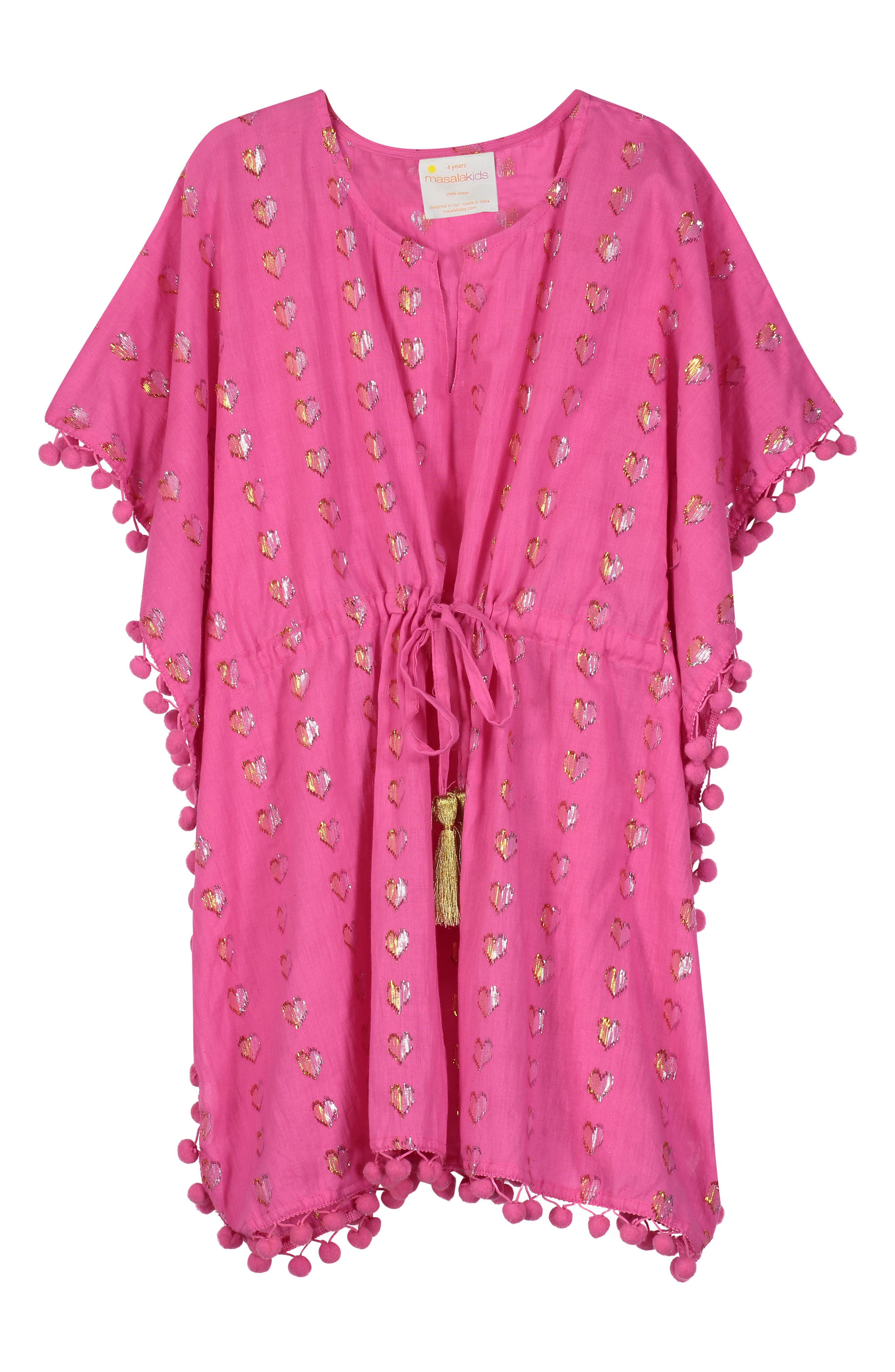 Infant Girls Masala Baby Diu Metallic Hearts CoverUp Caftan Size XXS (312m)  Pink