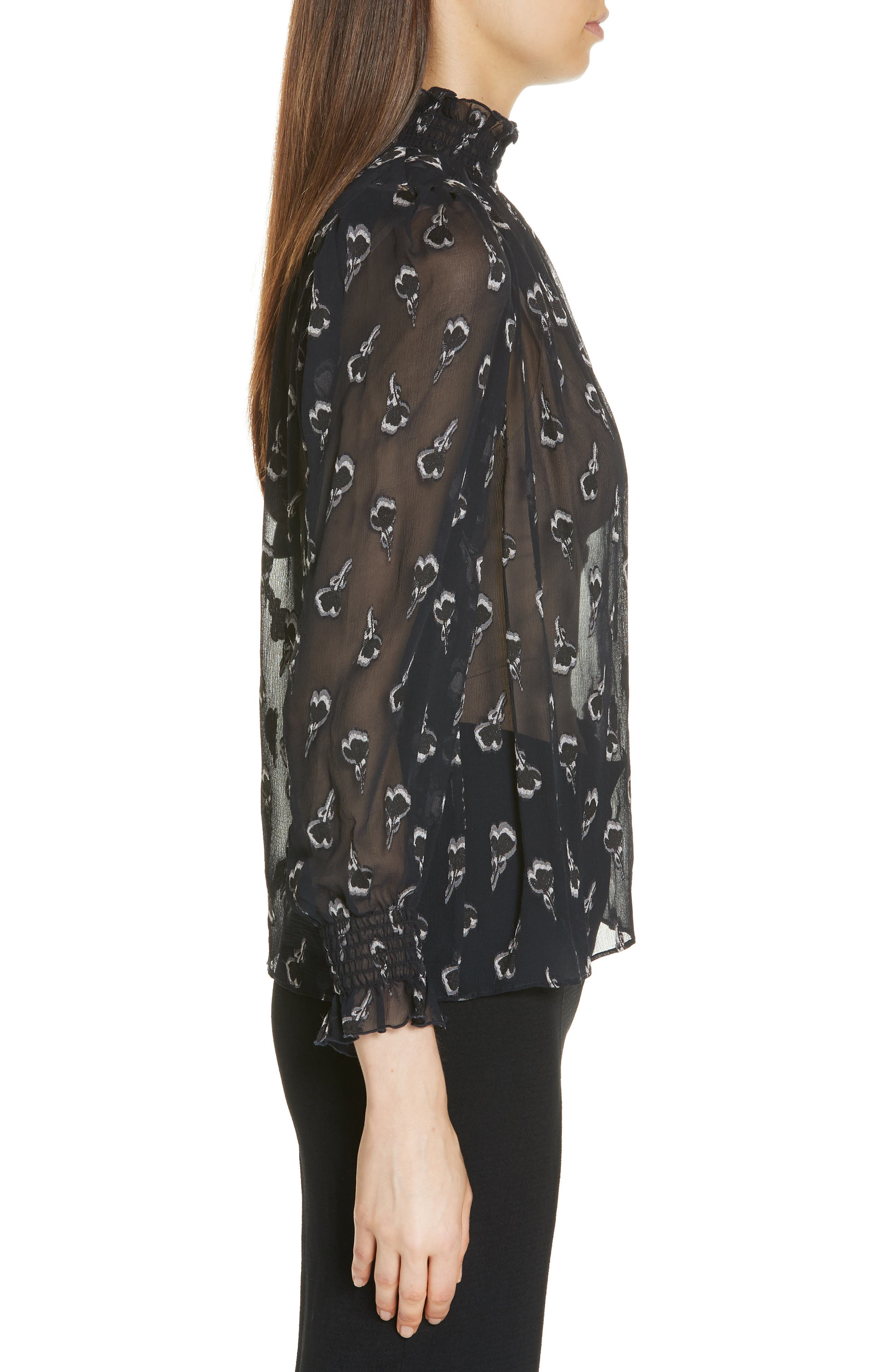 BA&SH,                             Malawi Tumbling Blossoms Silk Georgette Blouse,                             Alternate thumbnail 3, color,                             NOIR
