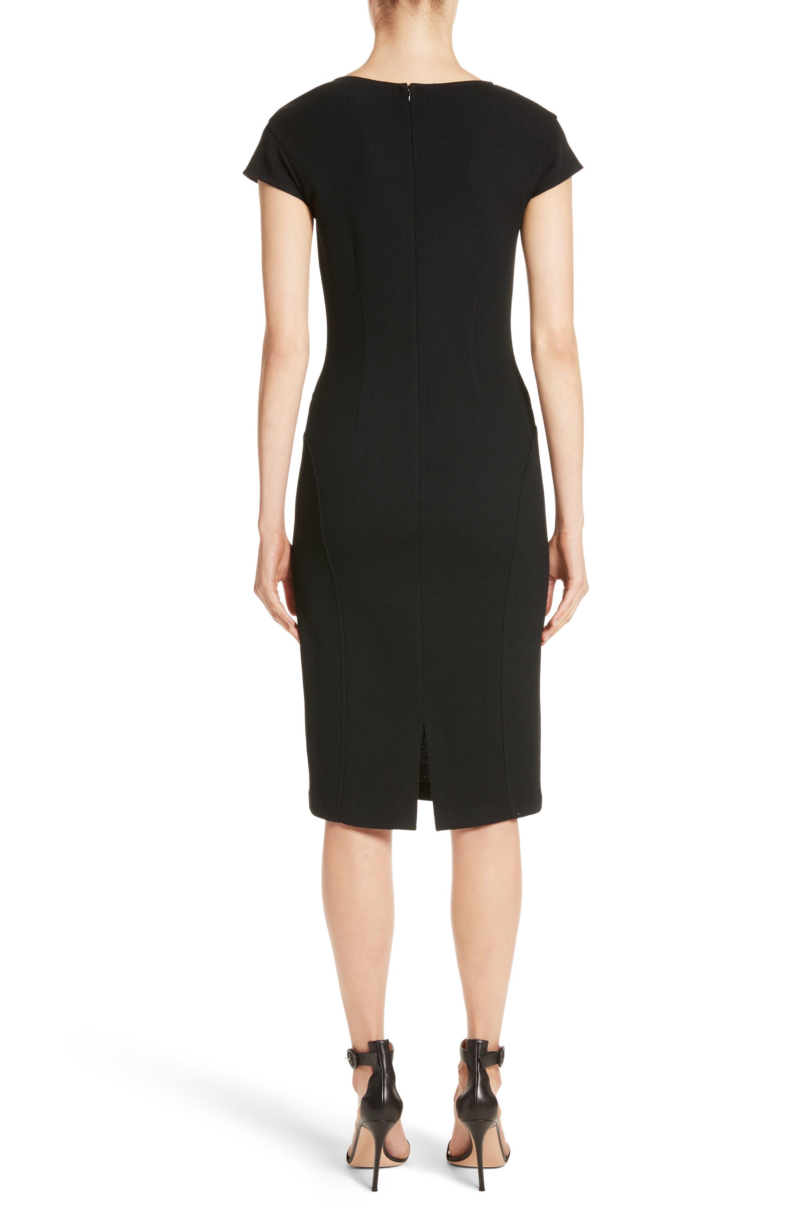 Leather Panel Milano Piqué Knit Dress,                             Alternate thumbnail 2, color,                             001
