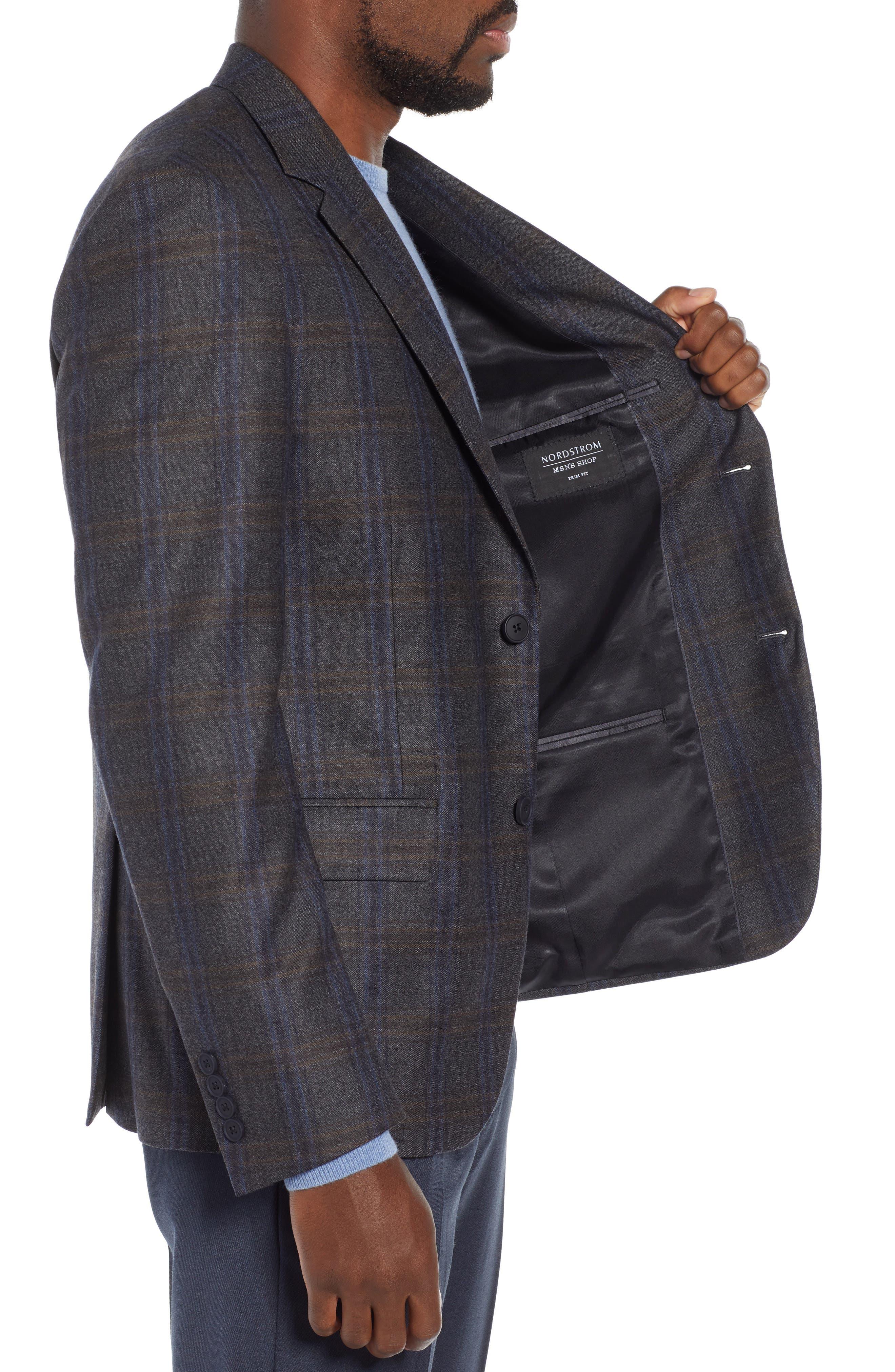 NORDSTROM MEN'S SHOP,                             Trim Fit Plaid Wool Sport Coat,                             Alternate thumbnail 3, color,                             010