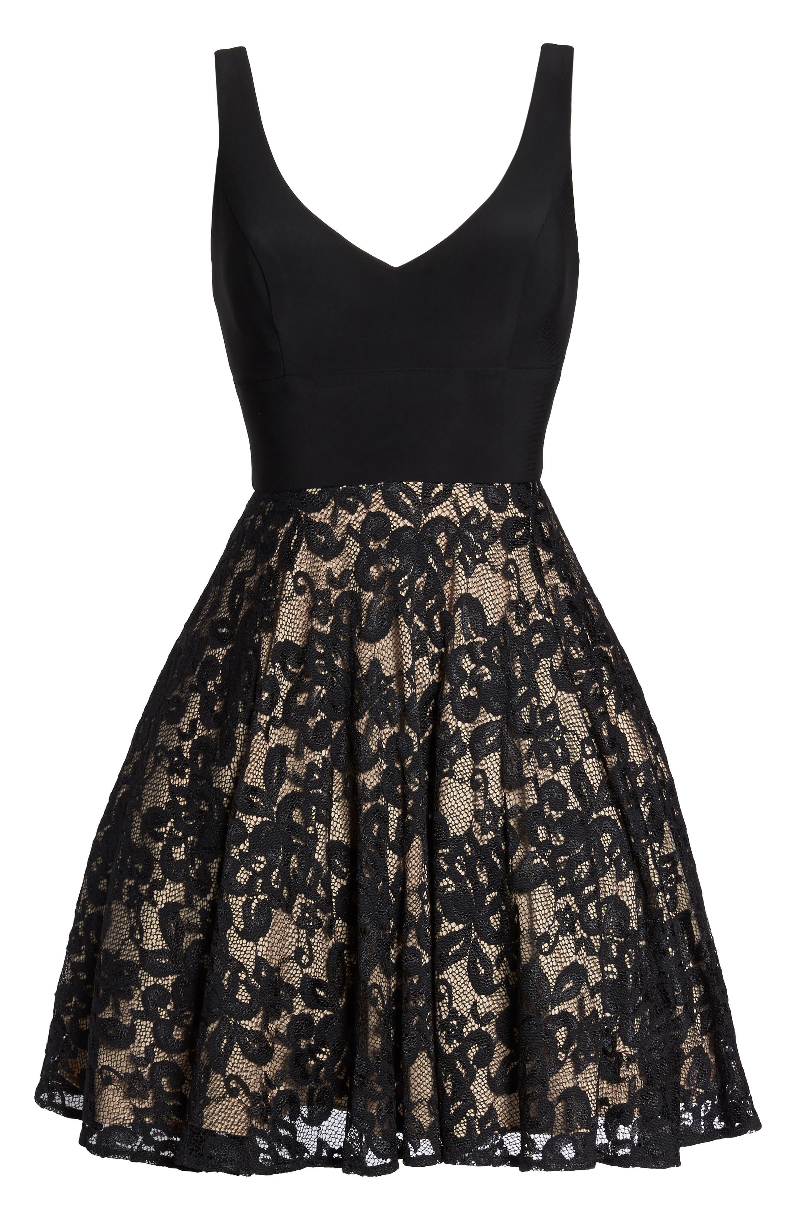 Jersey & Lace Party Dress,                             Alternate thumbnail 6, color,