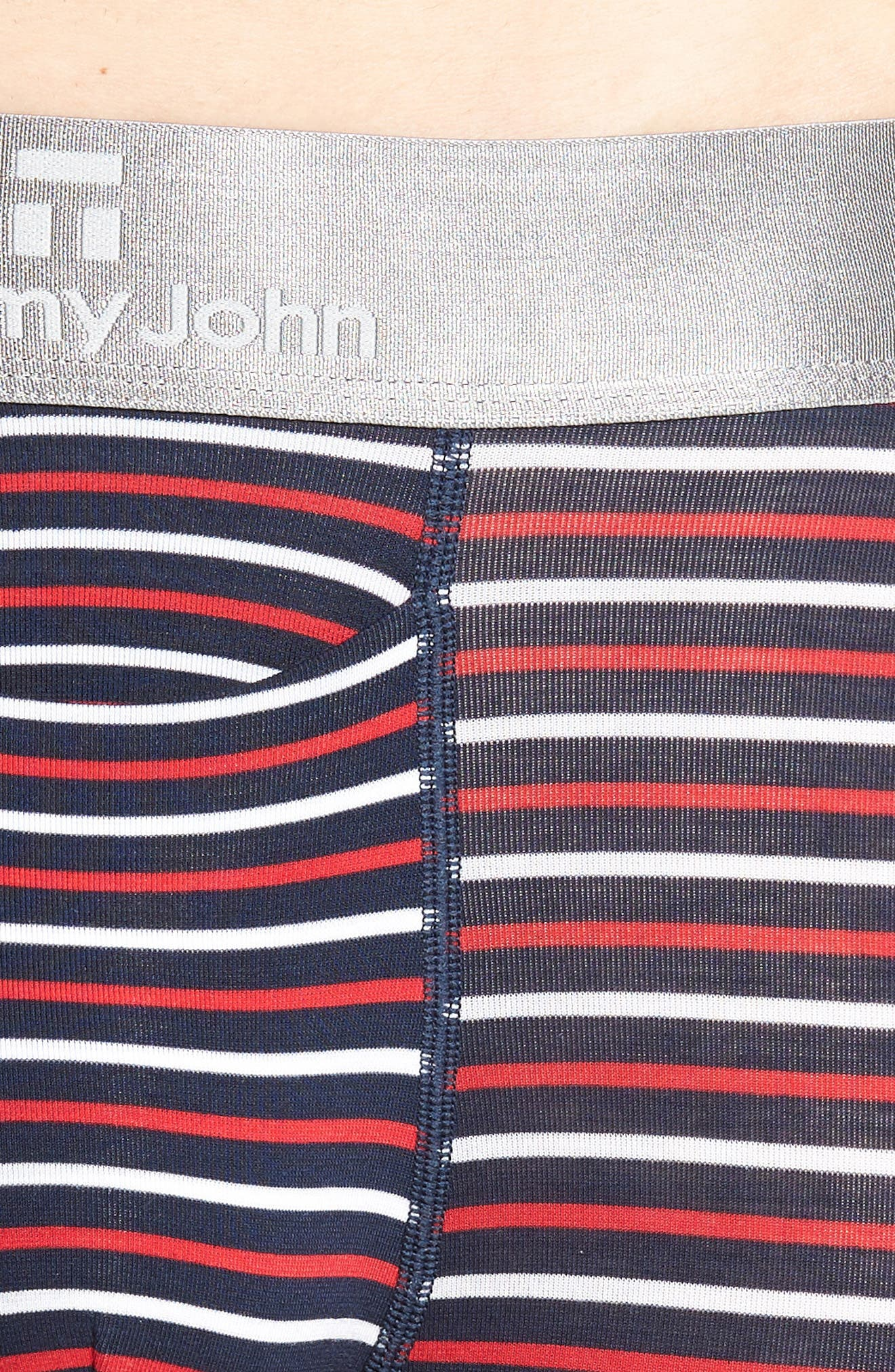 TOMMY JOHN,                             Second Skin Americana Stripe Boxer Briefs,                             Alternate thumbnail 4, color,                             RED/ WHITE/ DRESS BLUES