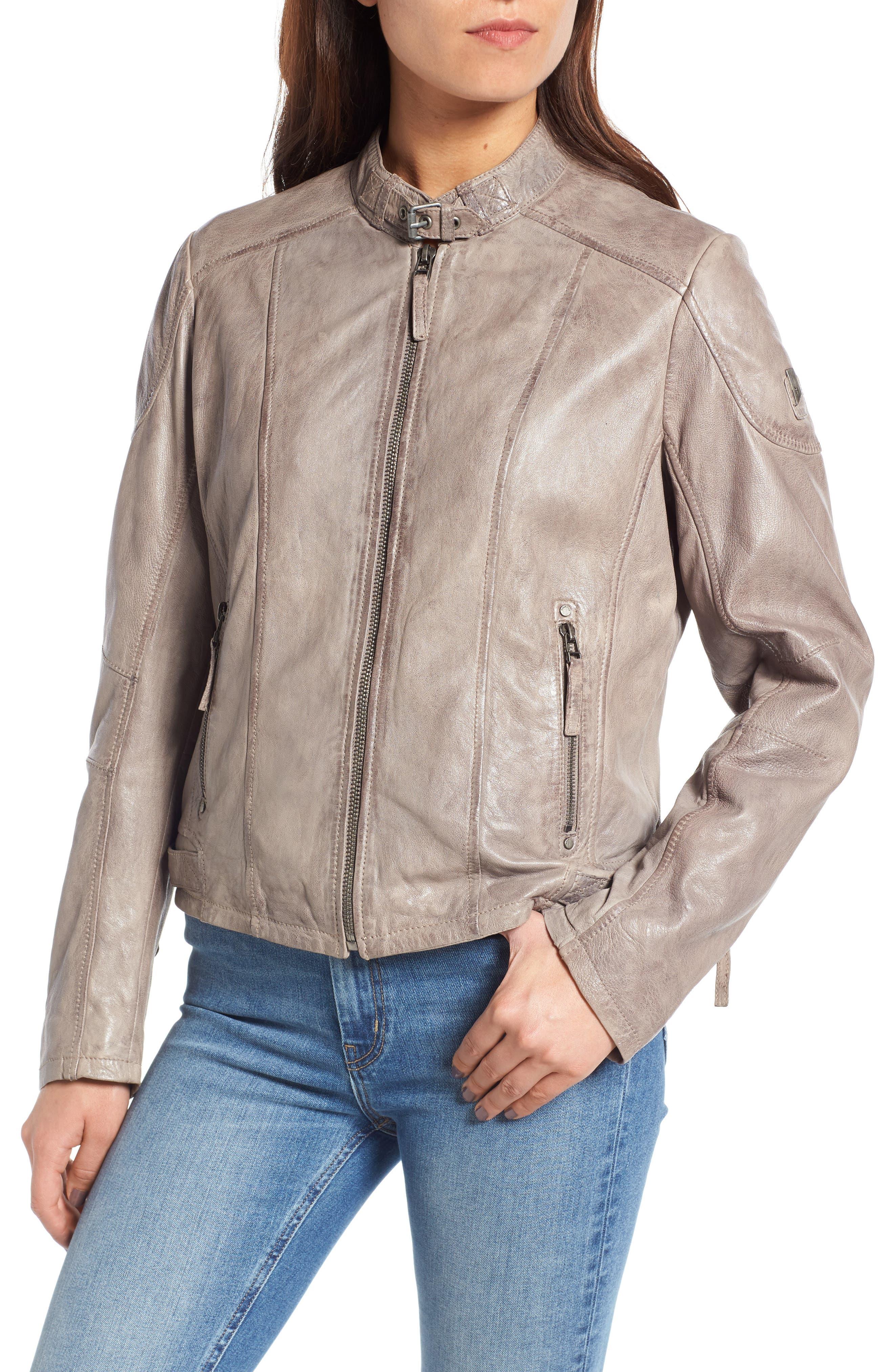 Leather Moto Jacket,                             Alternate thumbnail 4, color,                             020