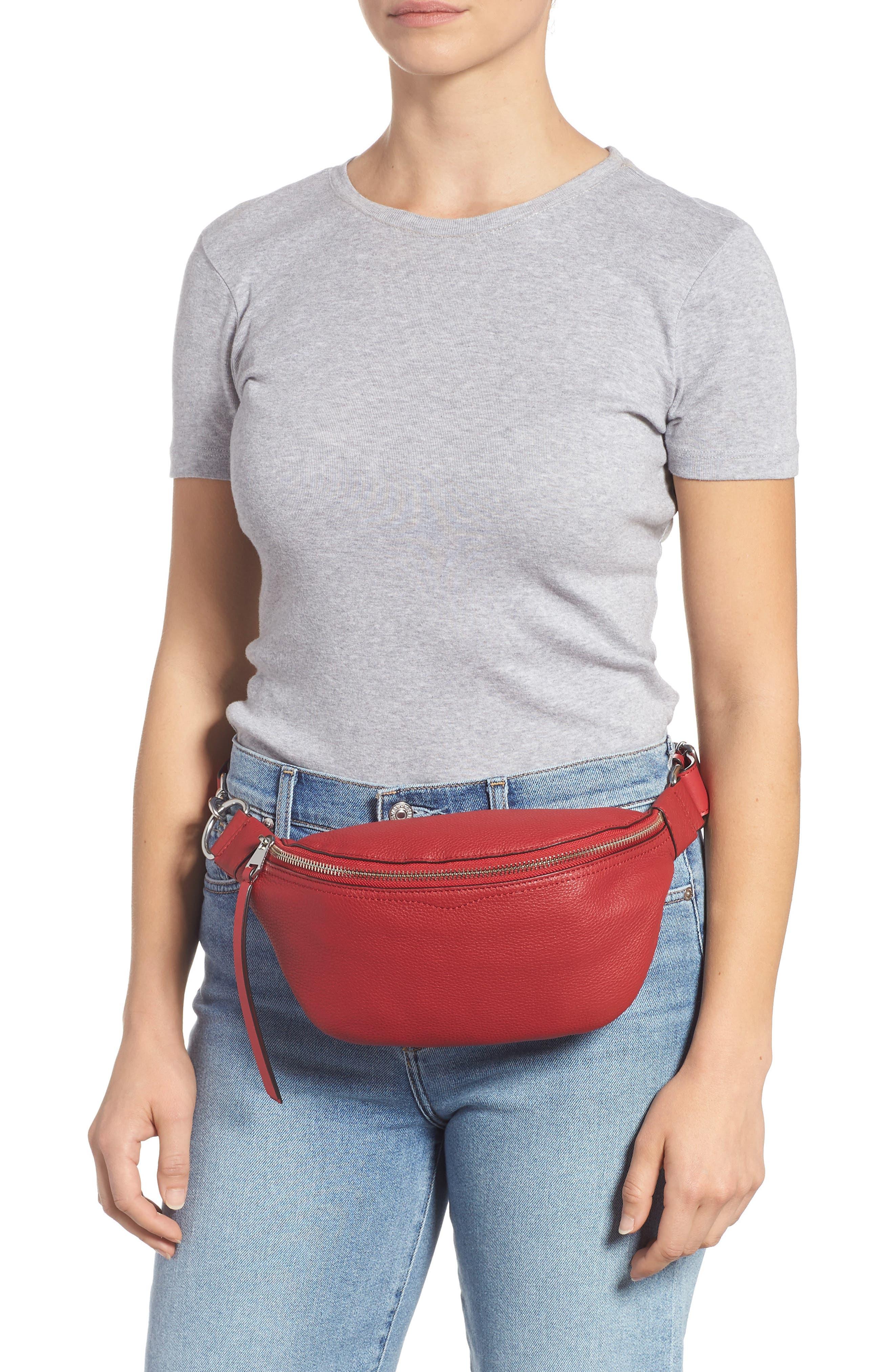 Bree Leather Belt Bag,                             Alternate thumbnail 2, color,                             SCARLET
