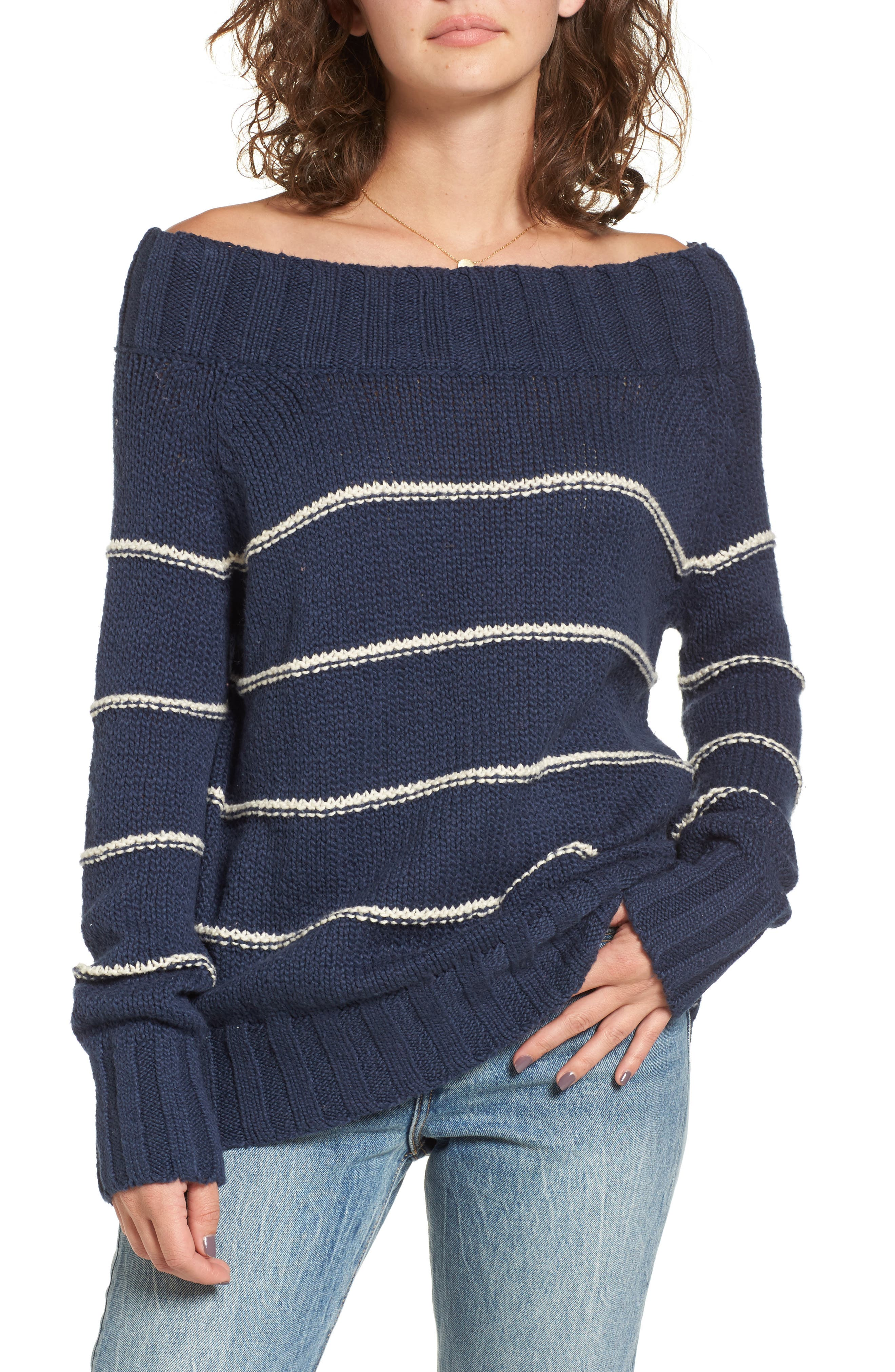 BILLABONG Snuggle Down Off the Shoulder Sweater, Main, color, 400