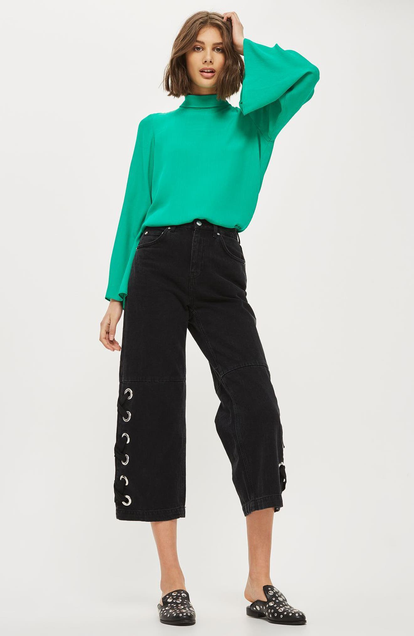 Tie Back Roll Neck Top,                             Alternate thumbnail 4, color,                             320