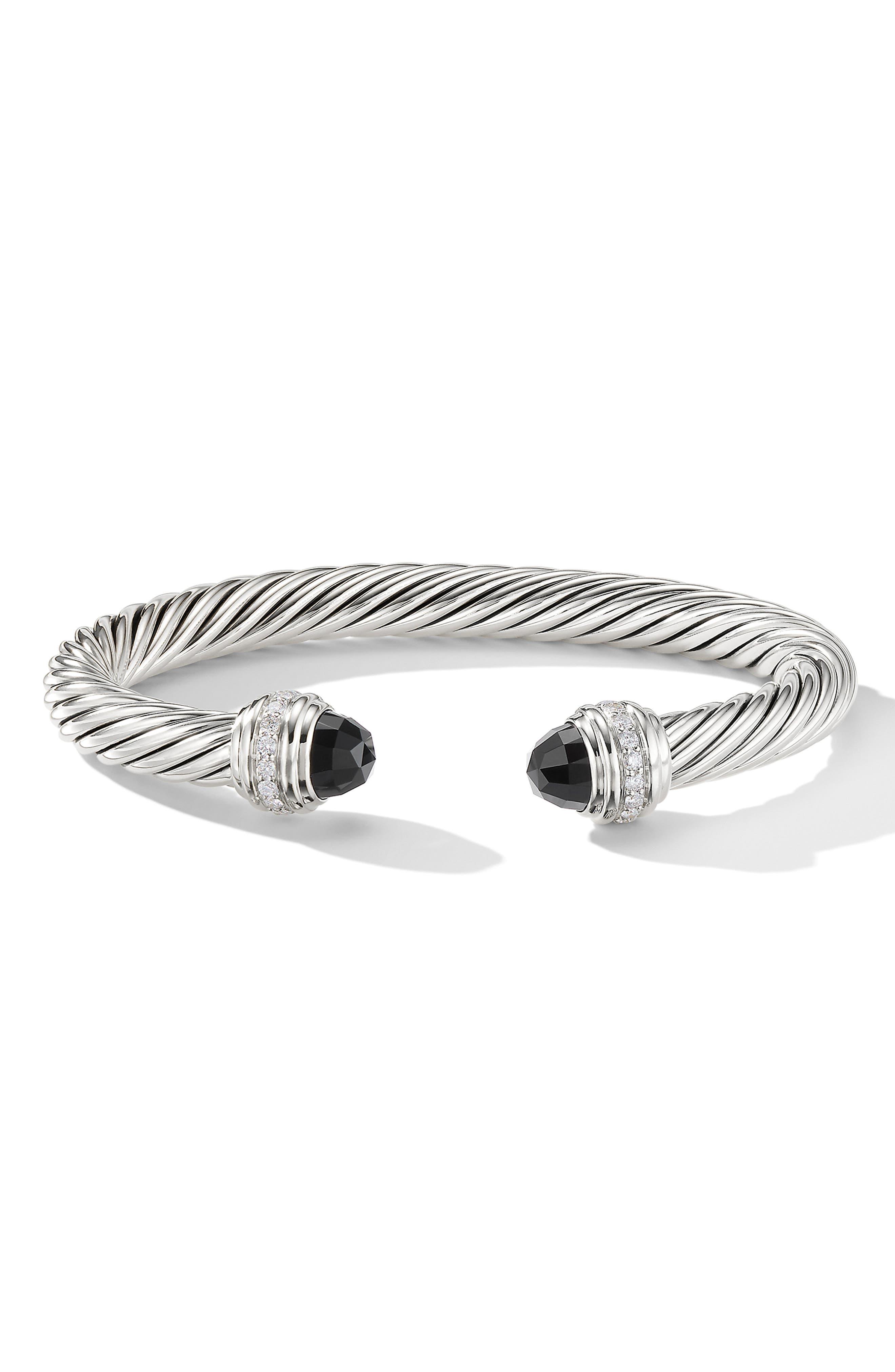 Cable Classics Bracelet with Semiprecious Stones & Diamonds, 7mm,                             Alternate thumbnail 2, color,                             SILVER/ DIAMOND/ BLACK ONYX