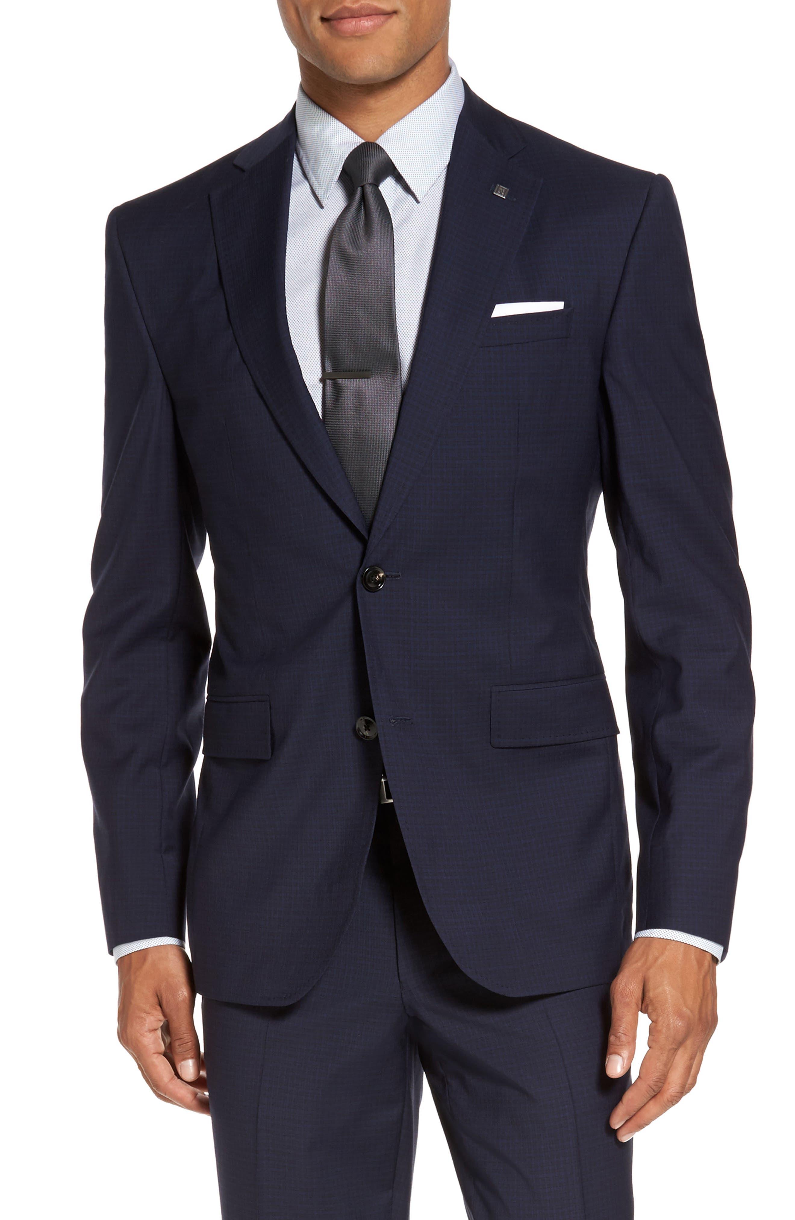 Roger Trim Fit Check Wool Suit,                             Alternate thumbnail 5, color,                             410