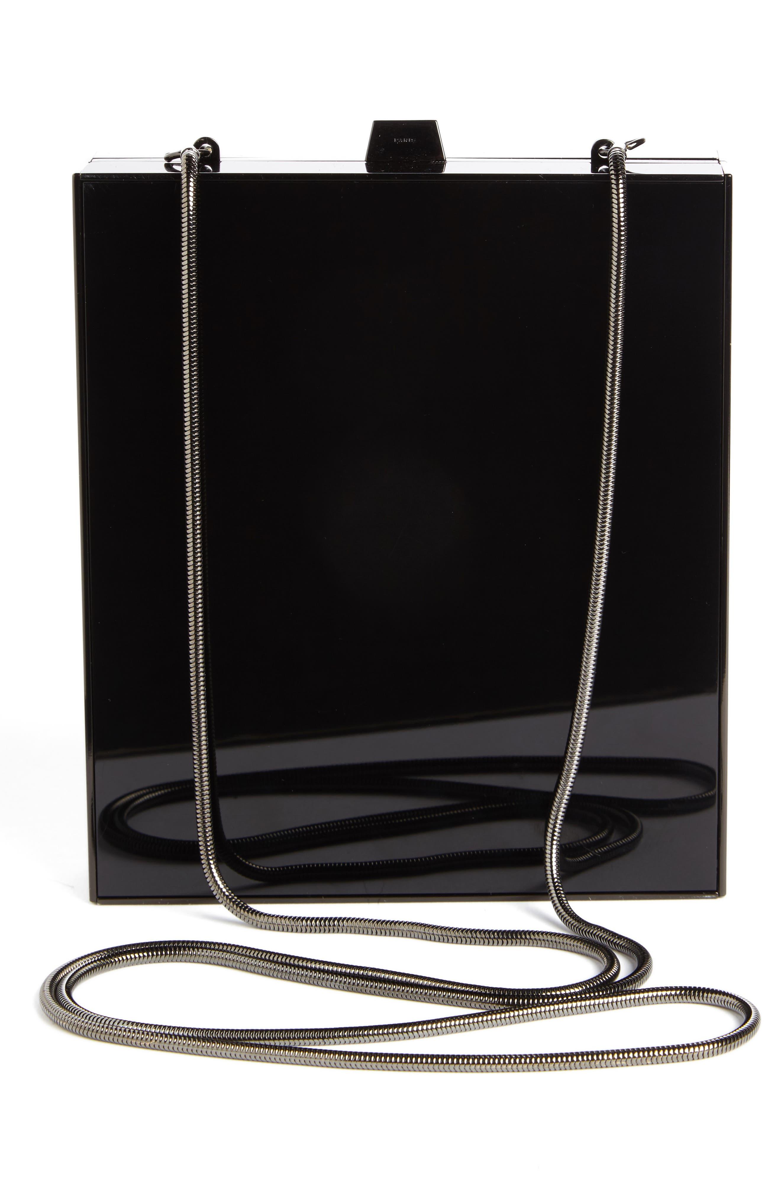 SAINT LAURENT,                             Tuxedo Plexiglass Clutch,                             Alternate thumbnail 2, color,                             NOIR/ BLK MATTE