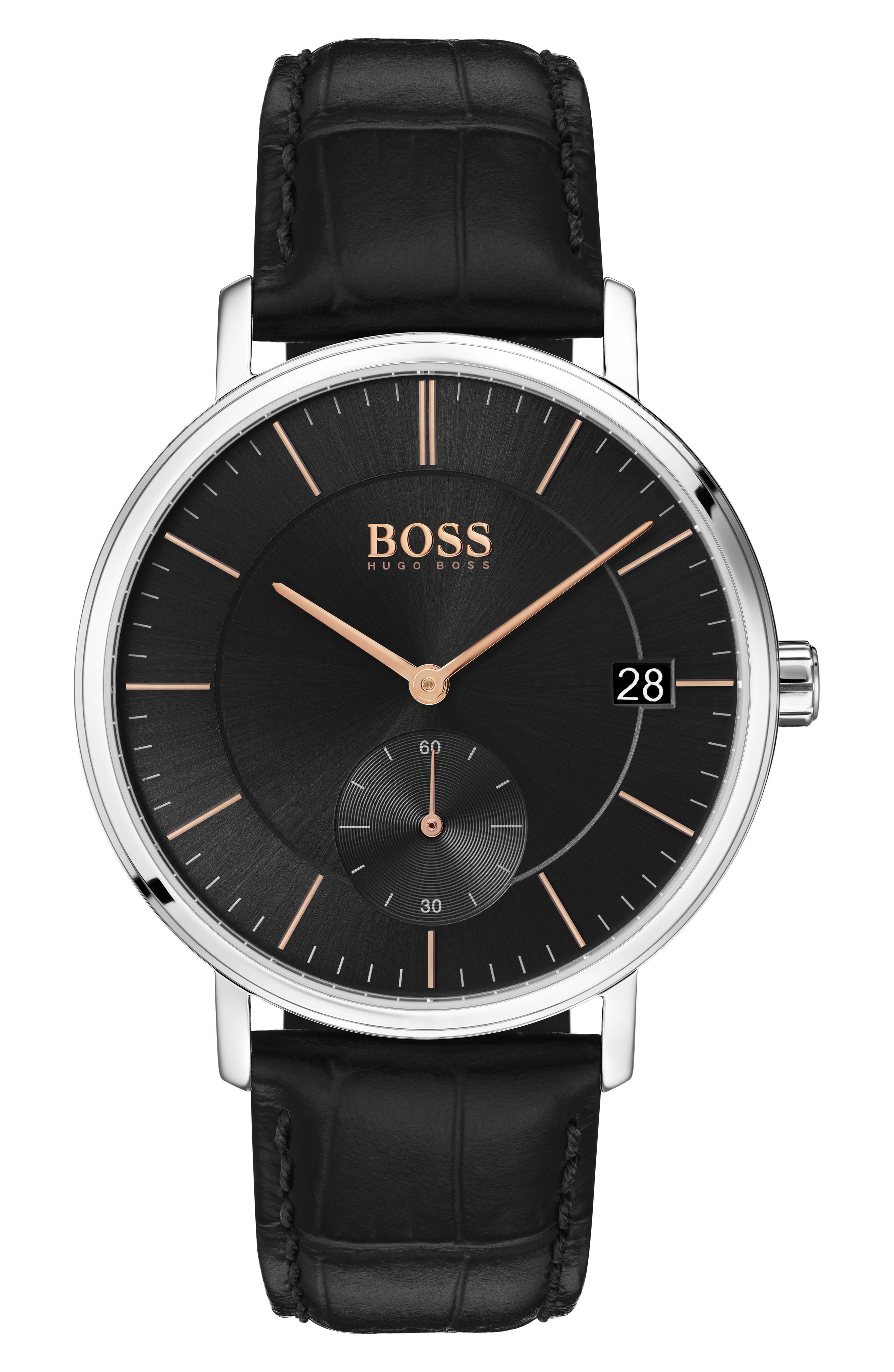 BOSS Leather Strap Watch, 40mm, Main, color, 001