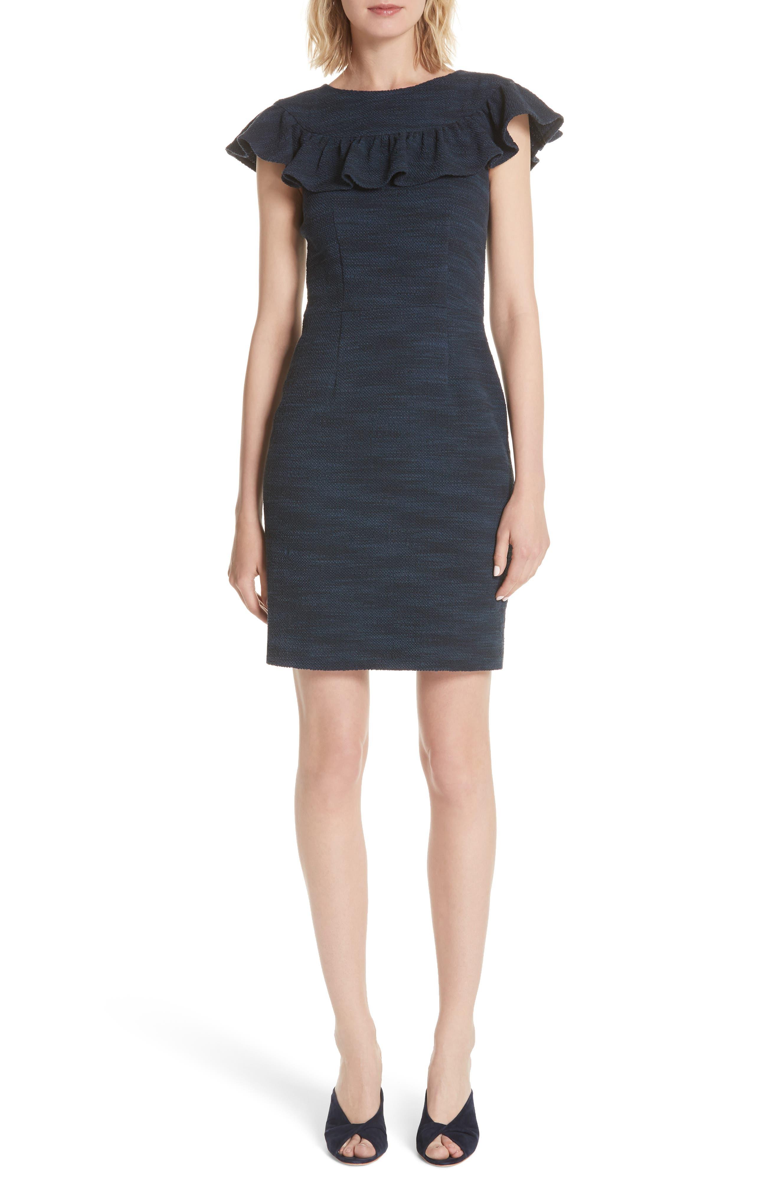 Ruffle Tweed Dress,                             Main thumbnail 1, color,                             482