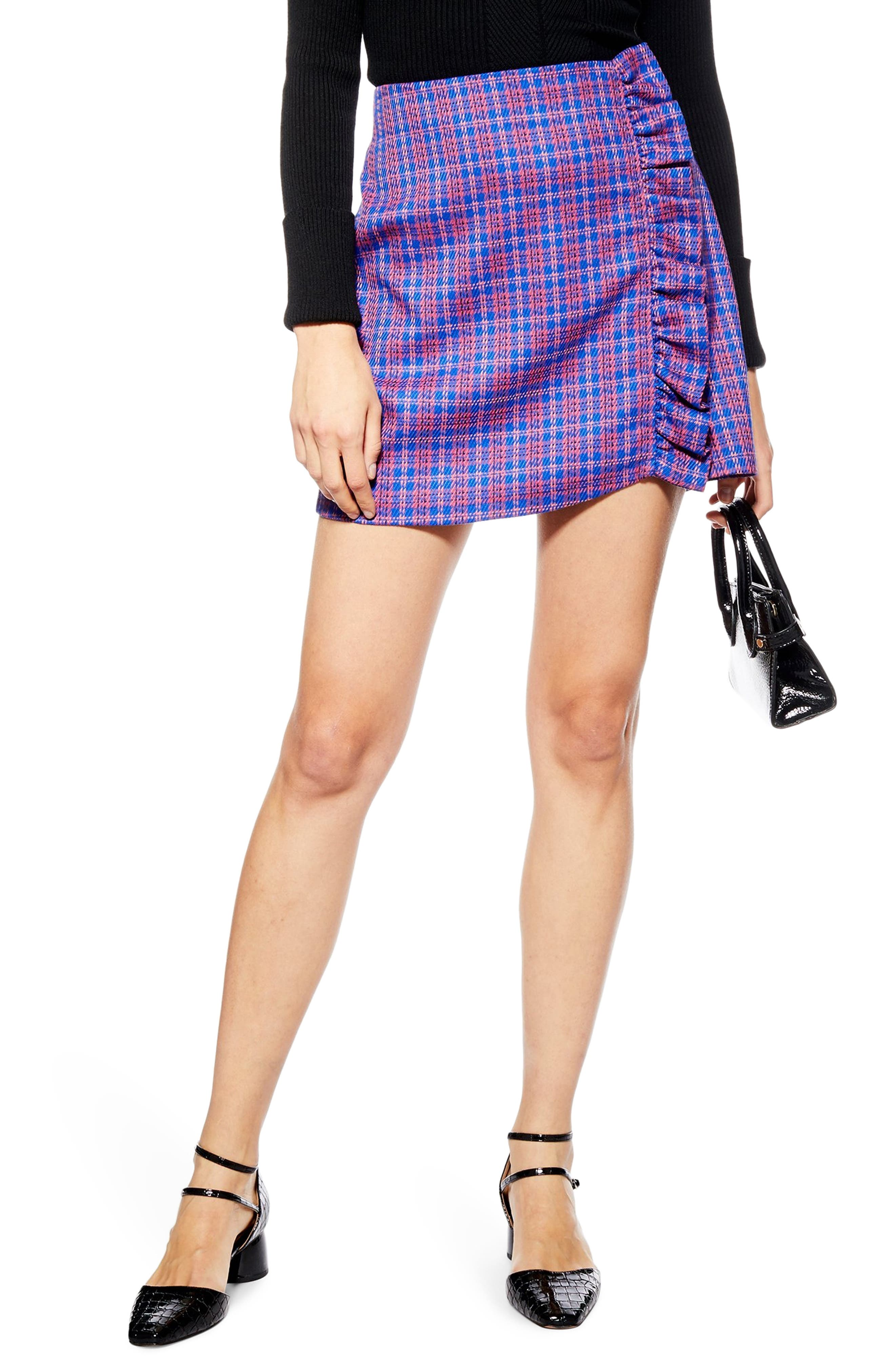 Topshop Check Frill Miniskirt, US (fits like 0) - Pink