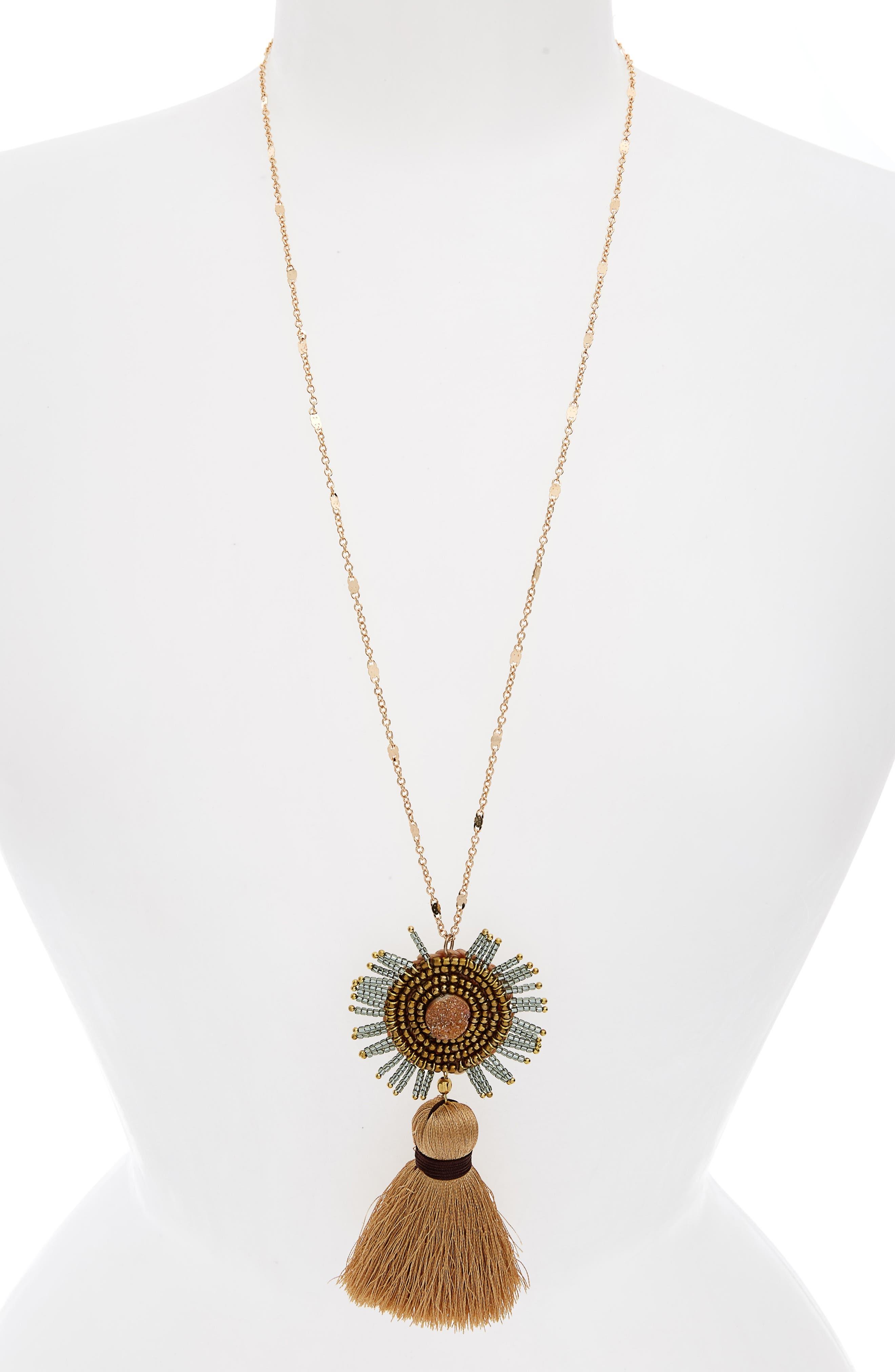 Drusy Tassel Necklace,                         Main,                         color, 710