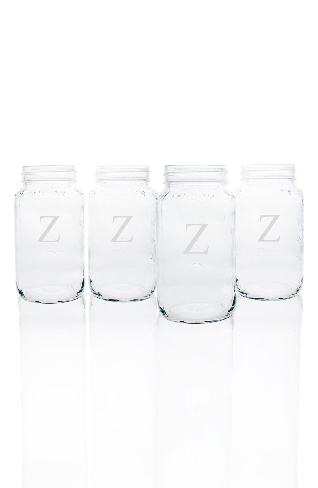 CATHY'S CONCEPTS,                             Monogram Glass Mason Jar Mugs,                             Main thumbnail 1, color,                             CLEAR-Z
